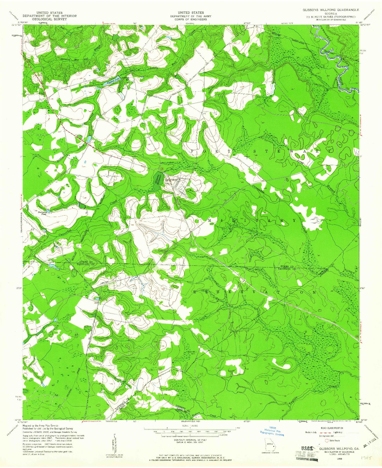 USGS 1:24000-SCALE QUADRANGLE FOR GLISSONS MILLPOND, GA 1958