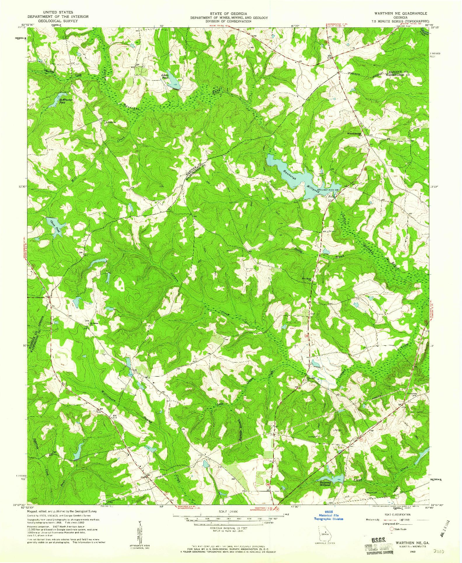 USGS 1:24000-SCALE QUADRANGLE FOR WARTHEN NE, GA 1960