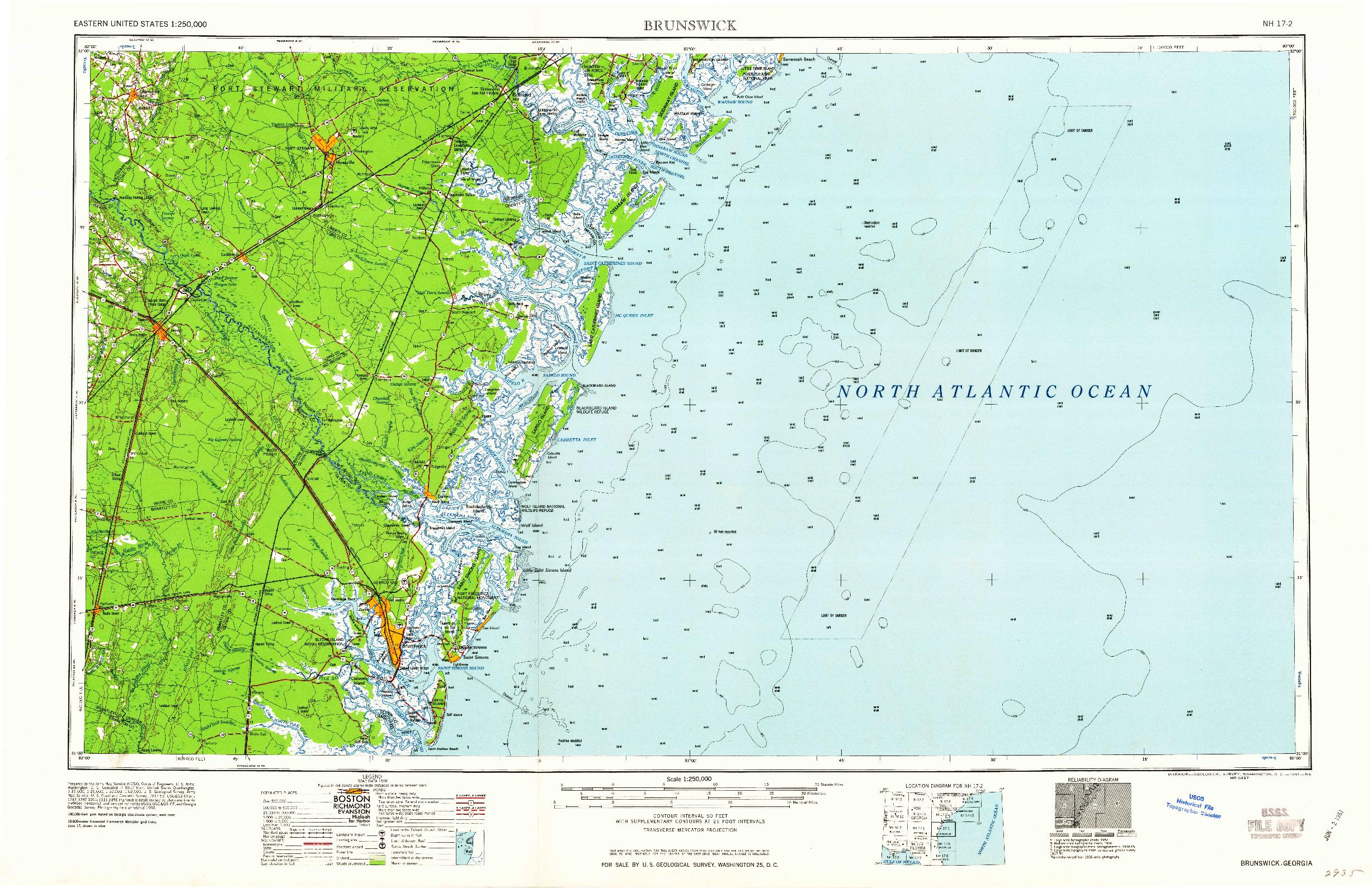 USGS 1:250000-SCALE QUADRANGLE FOR BRUNSWICK, GA 1961