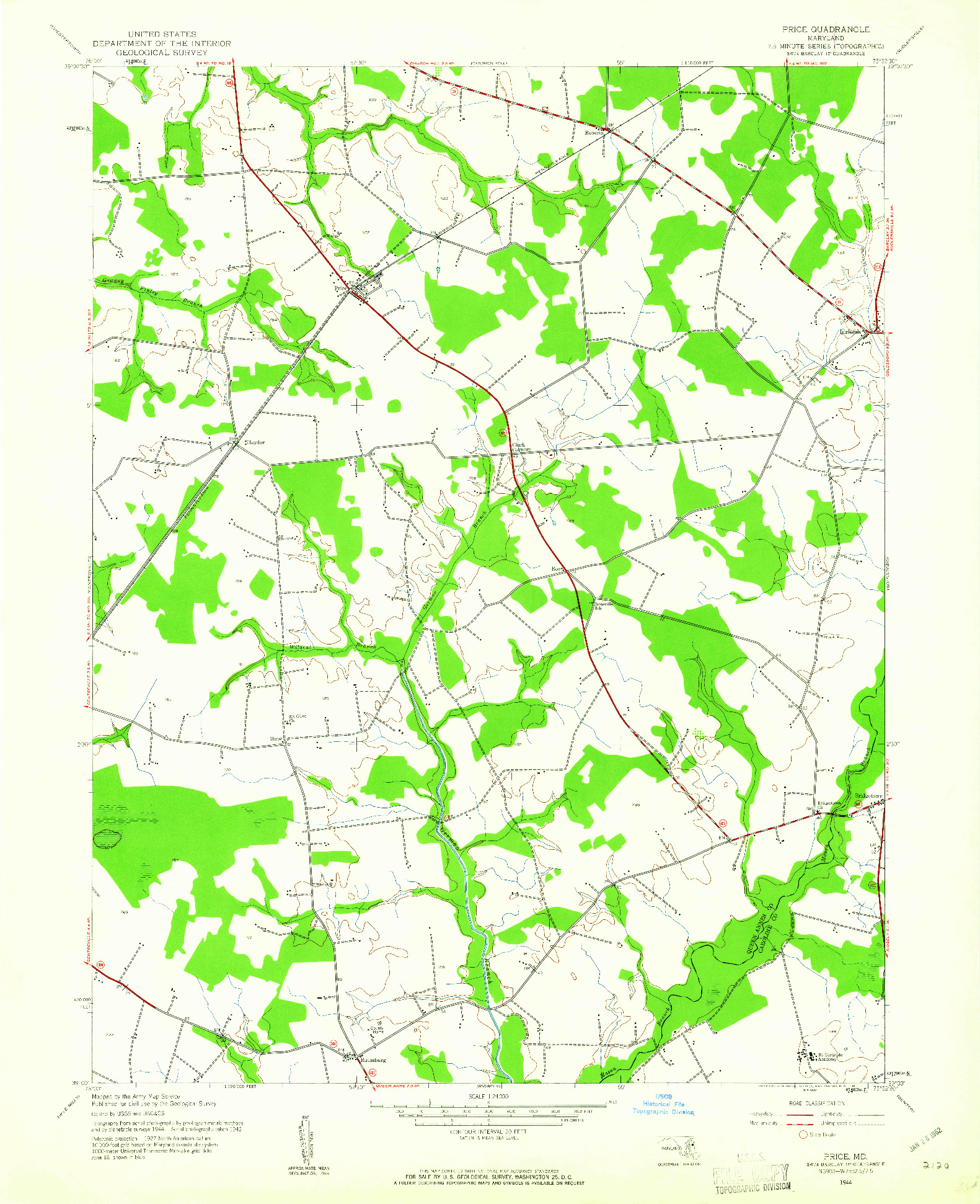 USGS 1:24000-SCALE QUADRANGLE FOR PRICE, MD 1944