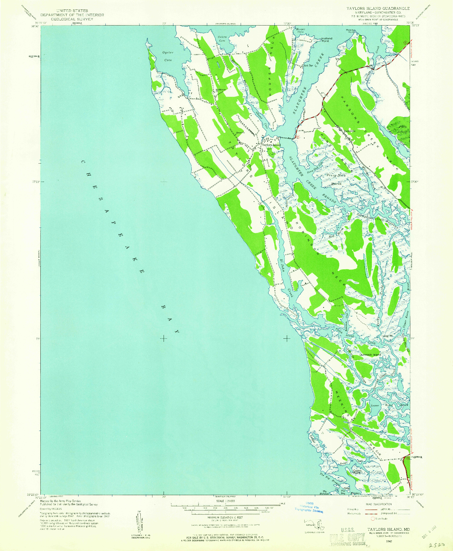 USGS 1:24000-SCALE QUADRANGLE FOR TAYLORS ISLAND, MD 1942