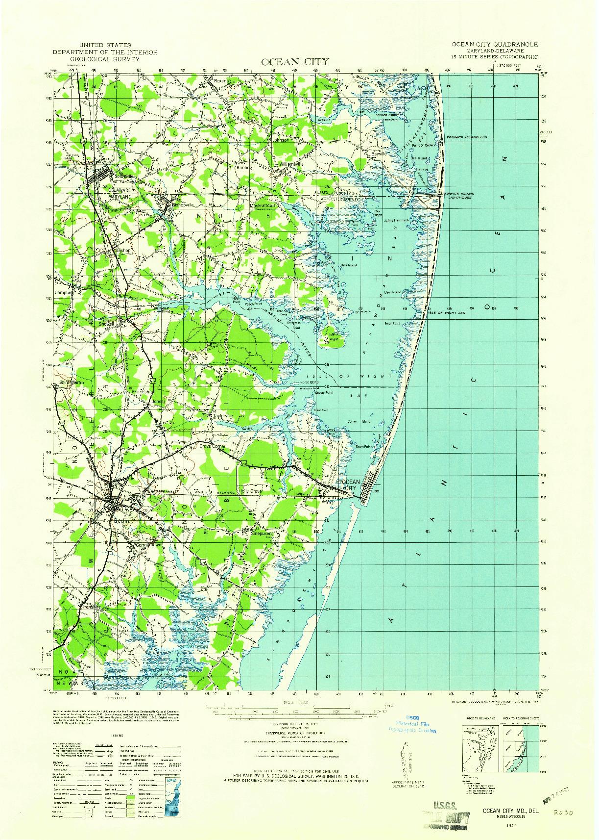 USGS 1:62500-SCALE QUADRANGLE FOR OCEAN CITY, MD 1942