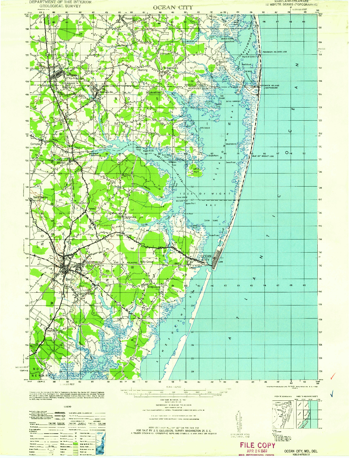 USGS 1:62500-SCALE QUADRANGLE FOR OCEAN CITY, MD 1961