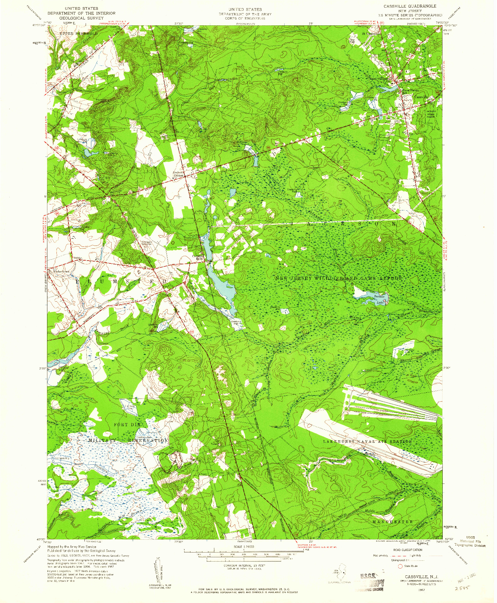 USGS 1:24000-SCALE QUADRANGLE FOR CASSVILLE, NJ 1957