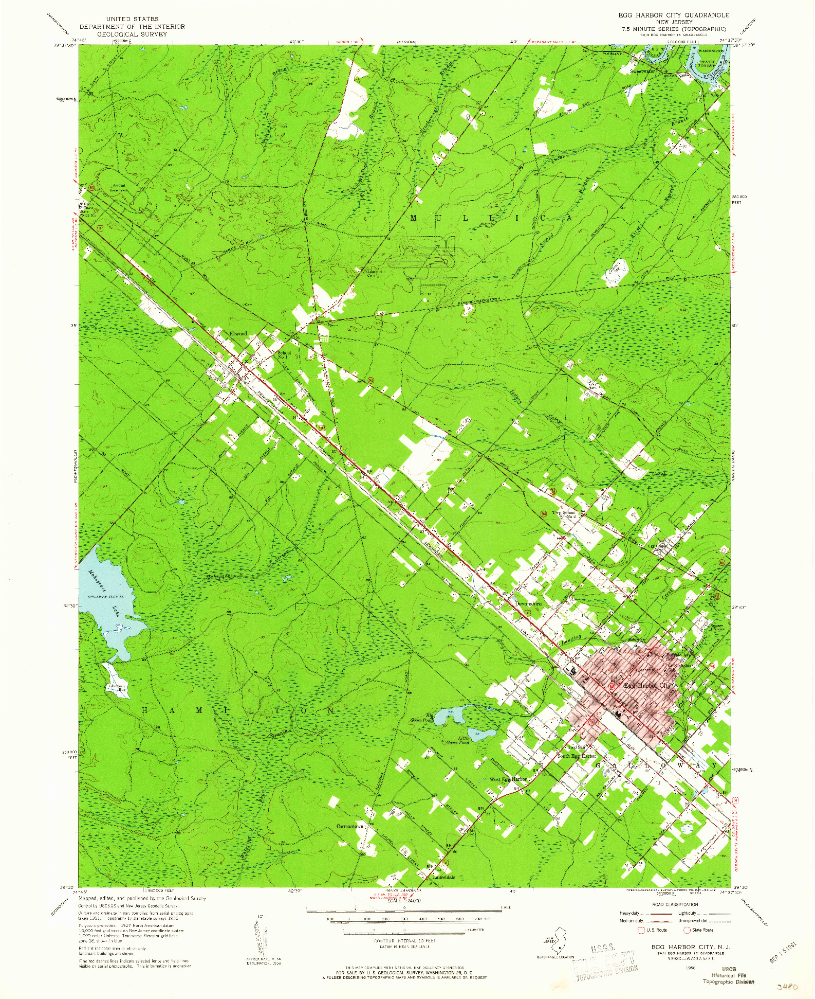 USGS 1:24000-SCALE QUADRANGLE FOR EGG HARBOR CITY, NJ 1956