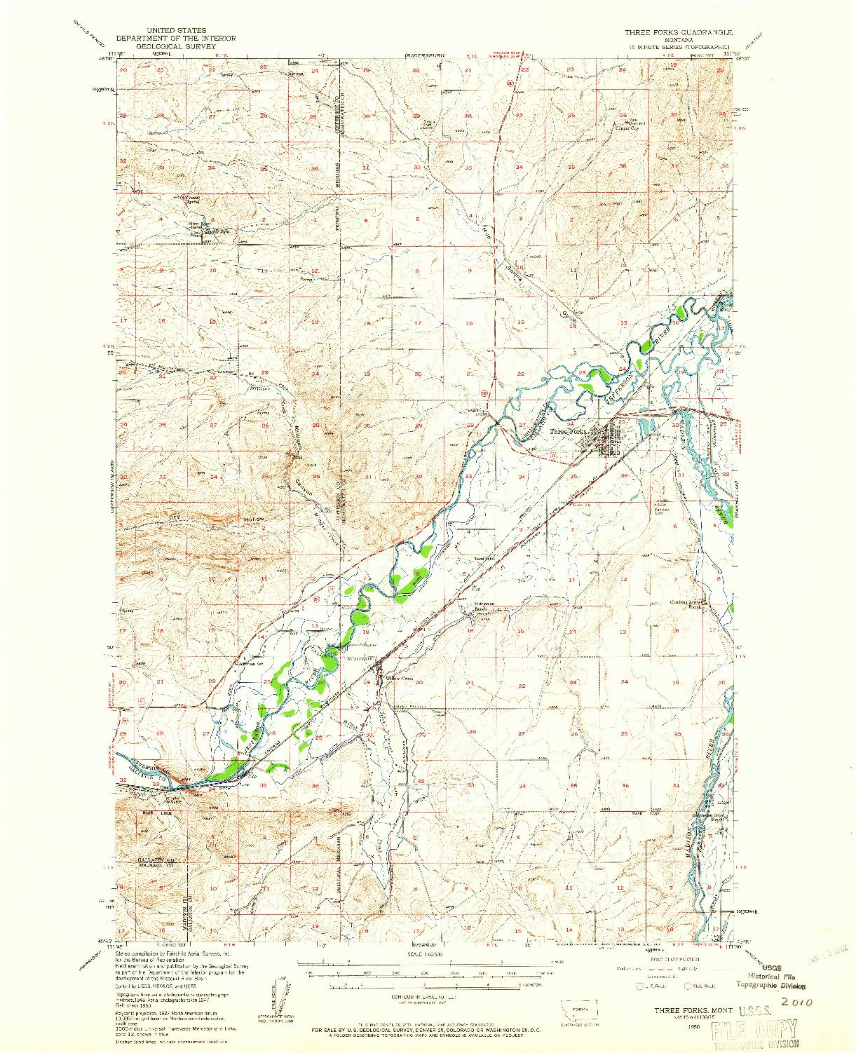 USGS 1:62500-SCALE QUADRANGLE FOR THREE FORKS, MT 1950