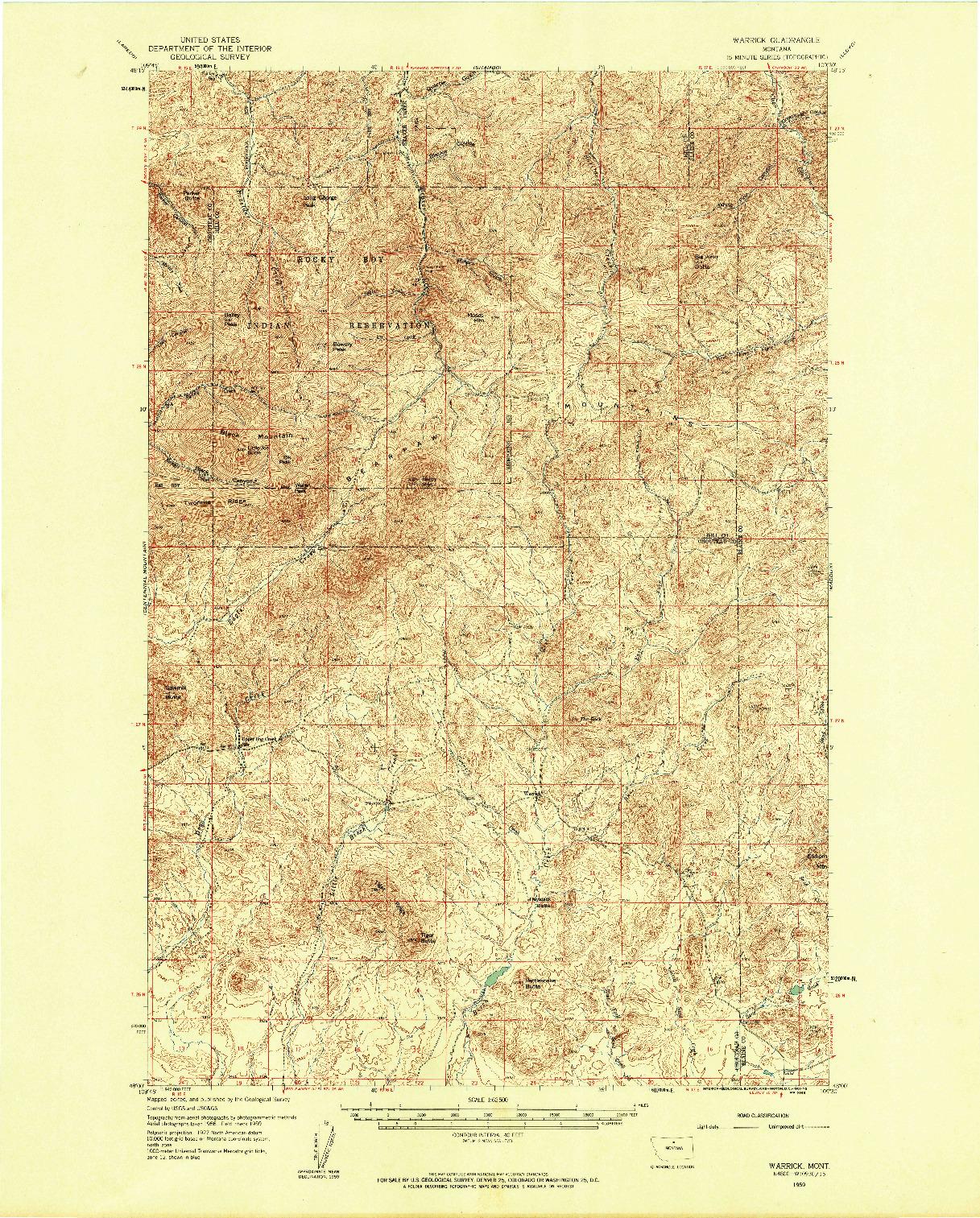 USGS 1:62500-SCALE QUADRANGLE FOR WARRICK, MT 1959