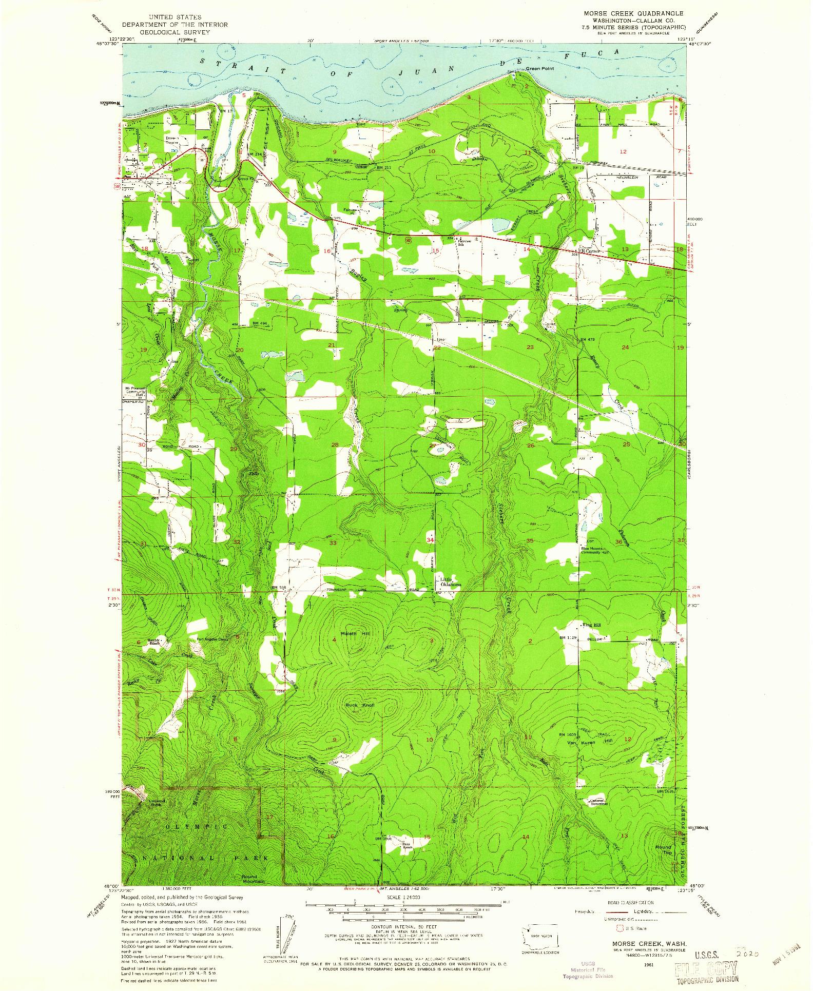 USGS 1:24000-SCALE QUADRANGLE FOR MORSE CREEK, WA 1961