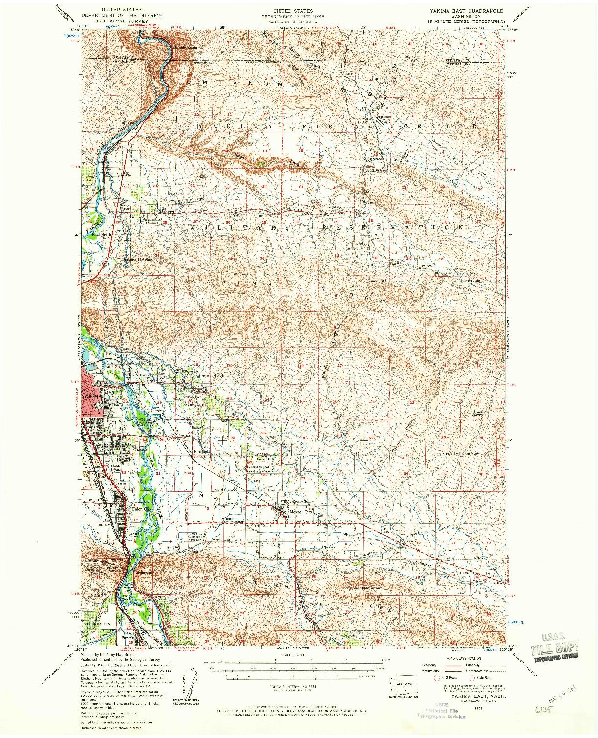 USGS 1:62500-SCALE QUADRANGLE FOR YAKIMA EAST, WA 1953
