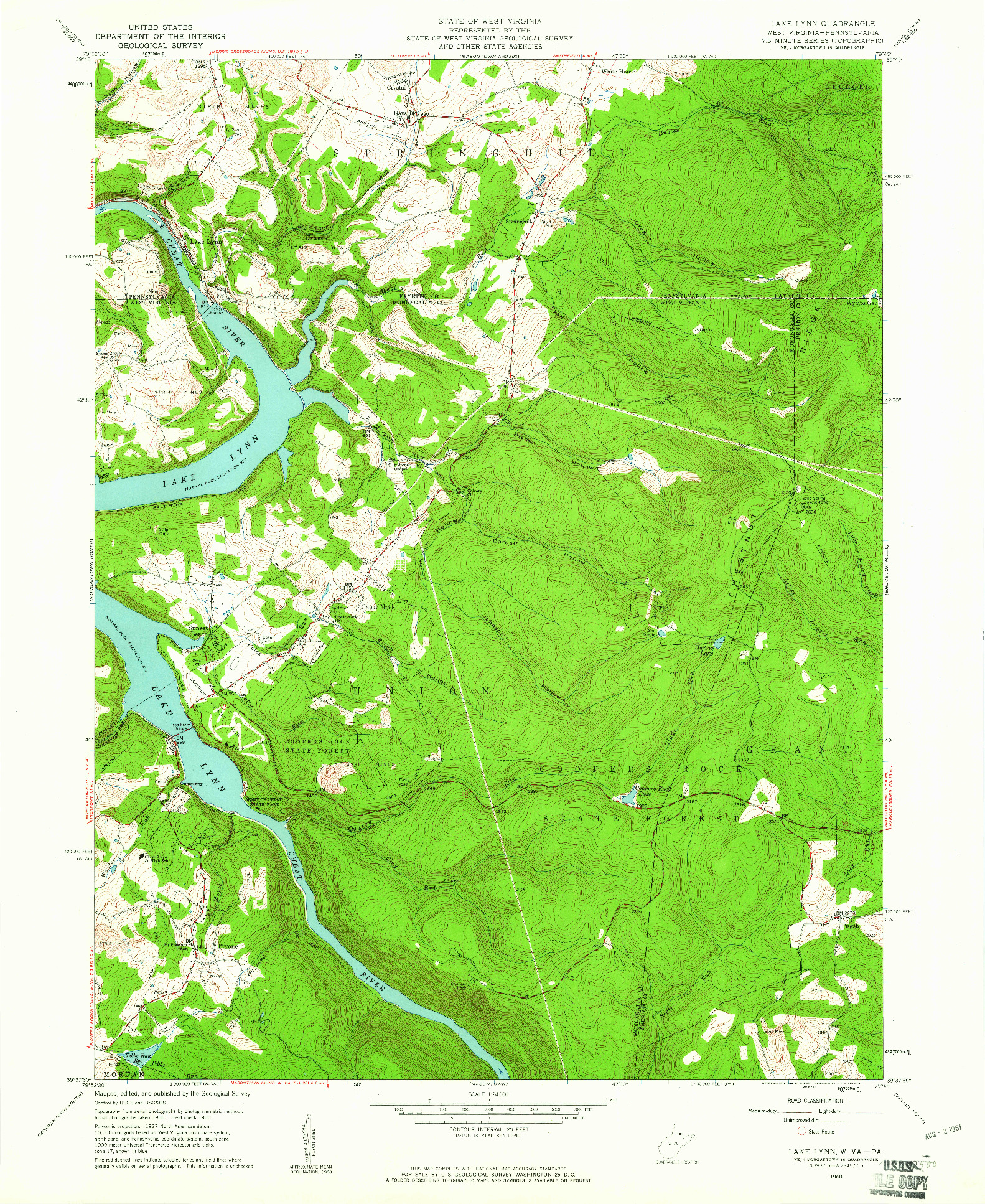 USGS 1:24000-SCALE QUADRANGLE FOR LAKE LYNN, WV 1960