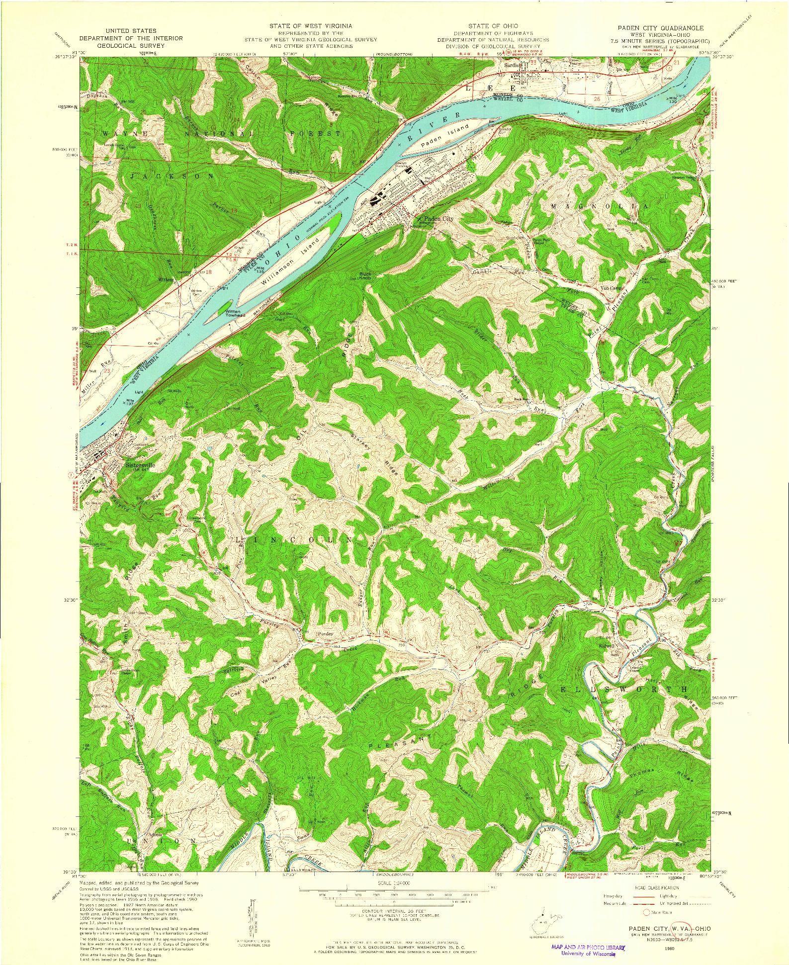 USGS 1:24000-SCALE QUADRANGLE FOR PADEN CITY, WV 1960