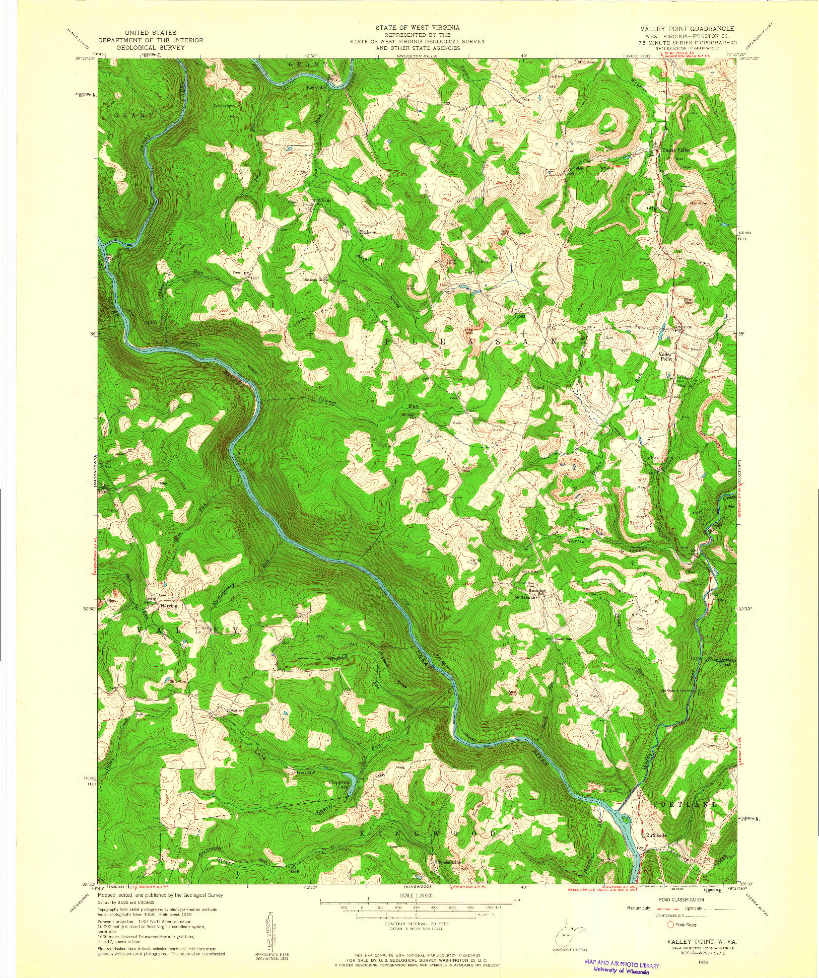 USGS 1:24000-SCALE QUADRANGLE FOR VALLEY POINT, WV 1959