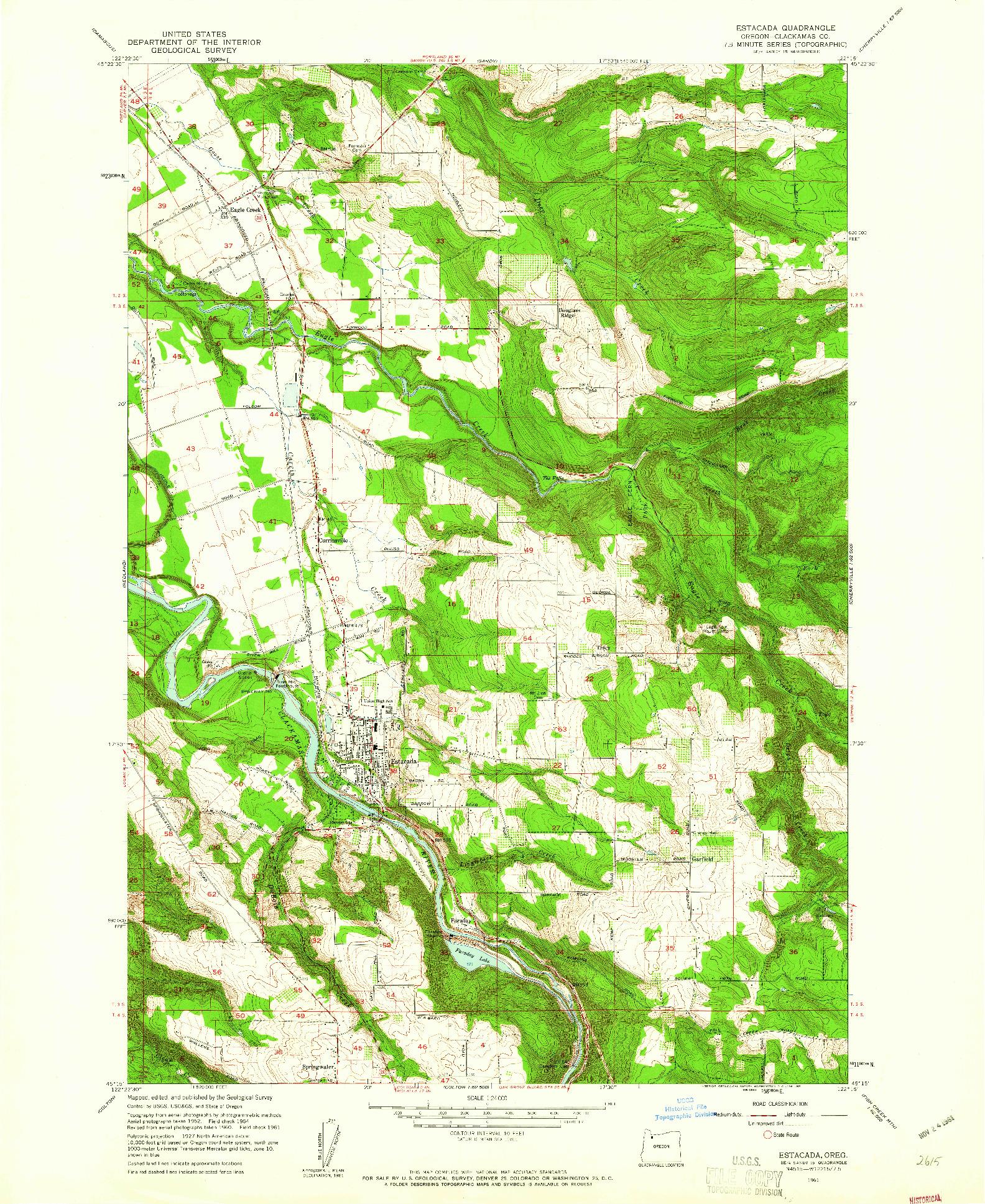 USGS 1:24000-SCALE QUADRANGLE FOR ESTACADA, OR 1961