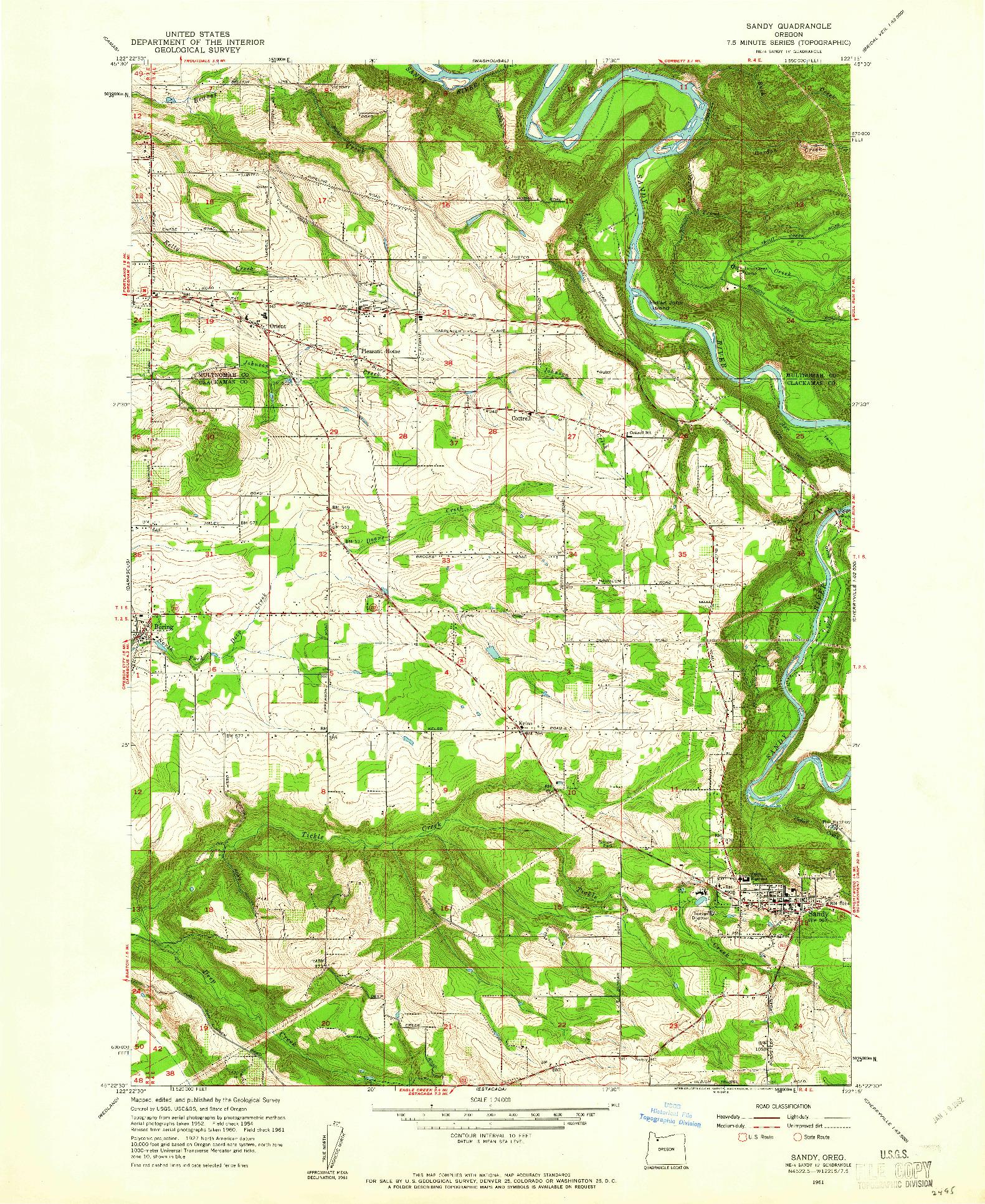 USGS 1:24000-SCALE QUADRANGLE FOR SANDY, OR 1961