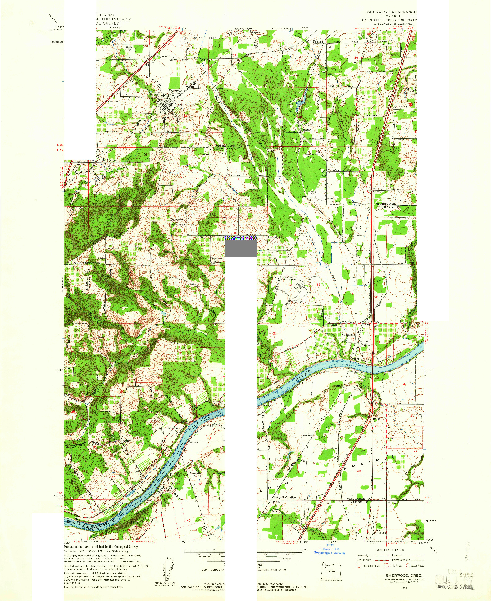 USGS 1:24000-SCALE QUADRANGLE FOR SHERWOOD, OR 1961