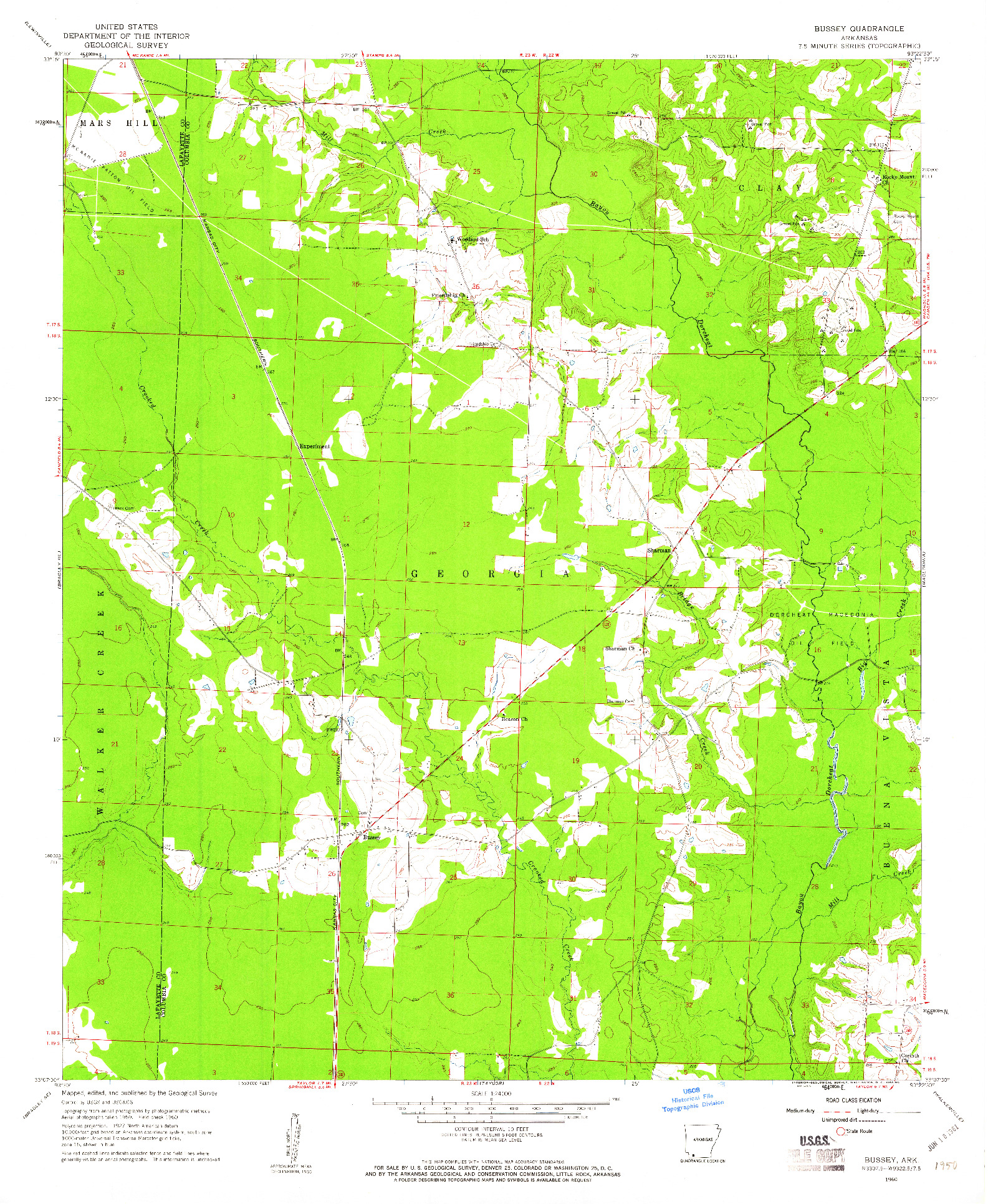 USGS 1:24000-SCALE QUADRANGLE FOR BUSSEY, AR 1960