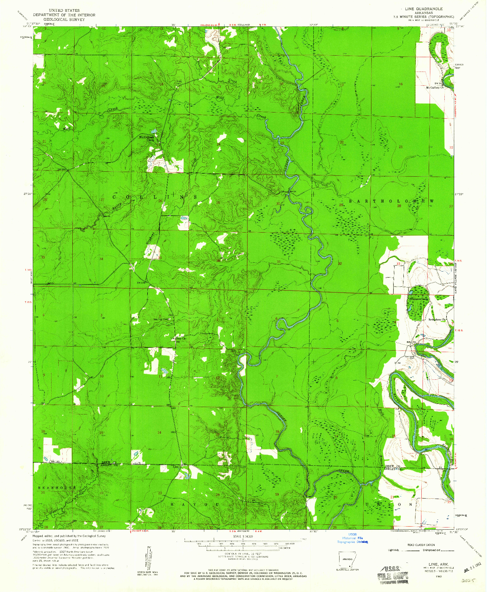 USGS 1:24000-SCALE QUADRANGLE FOR LINE, AR 1960