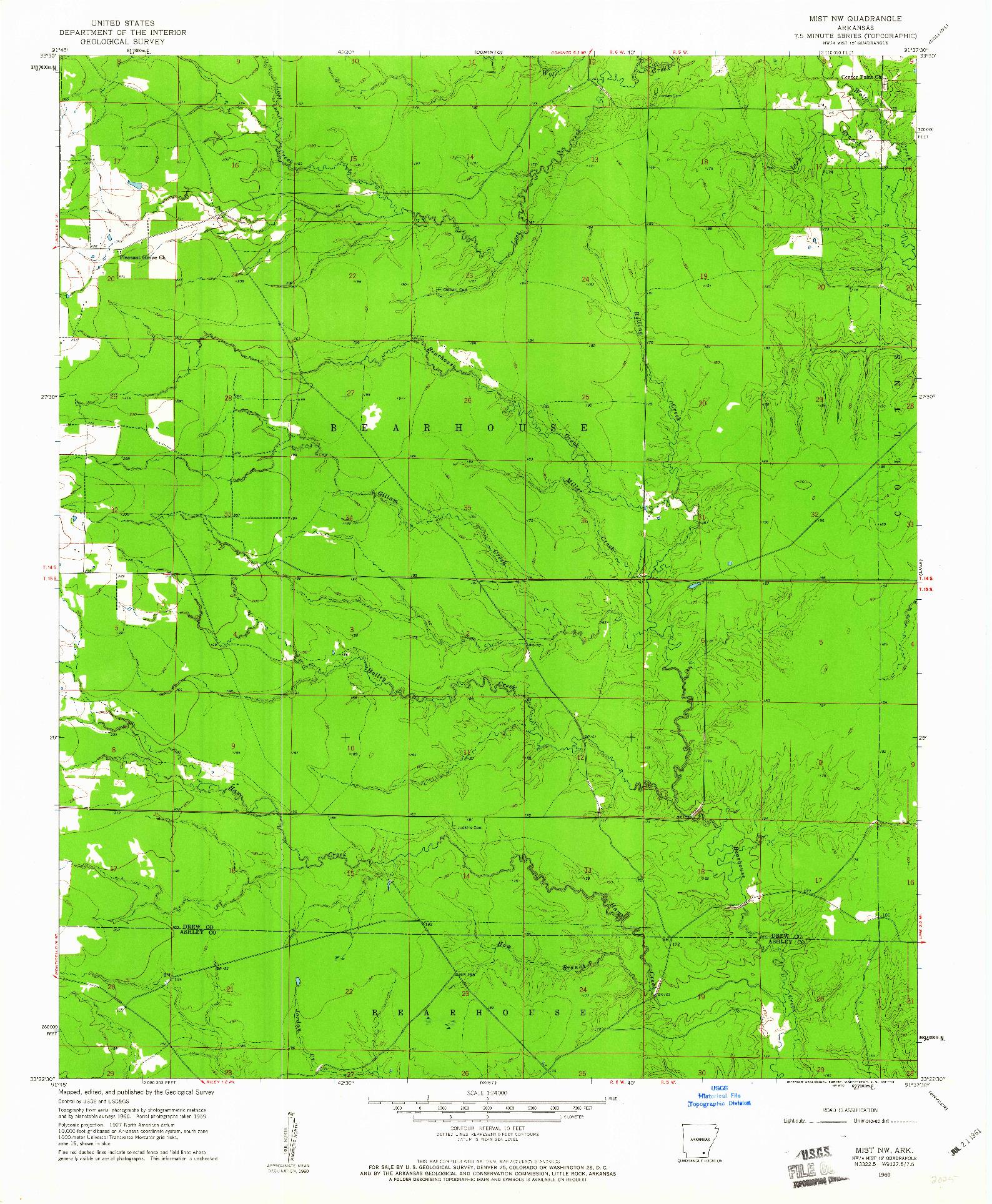 USGS 1:24000-SCALE QUADRANGLE FOR MIST NW, AR 1960