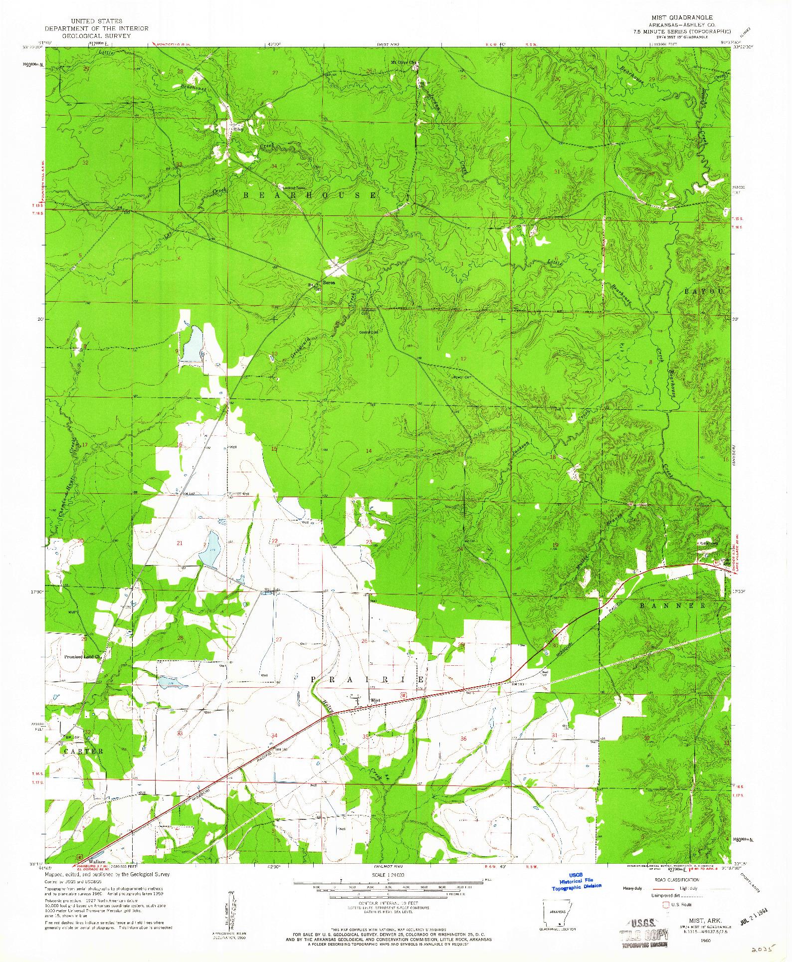 USGS 1:24000-SCALE QUADRANGLE FOR MIST, AR 1960
