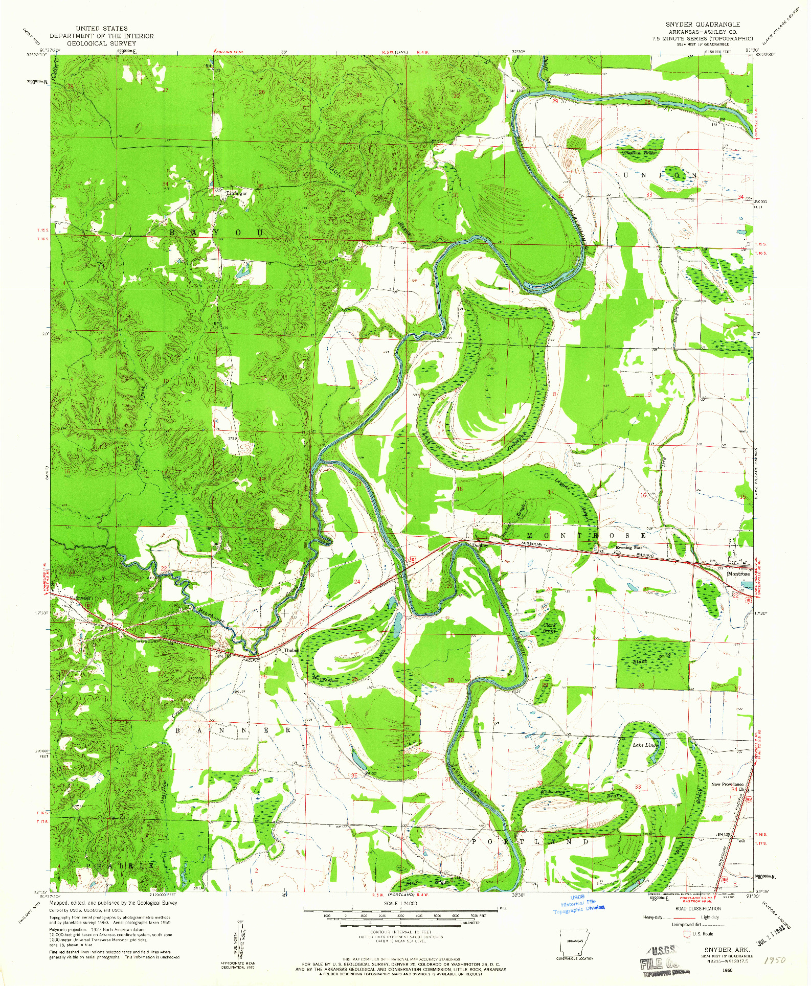 USGS 1:24000-SCALE QUADRANGLE FOR SNYDER, AR 1960