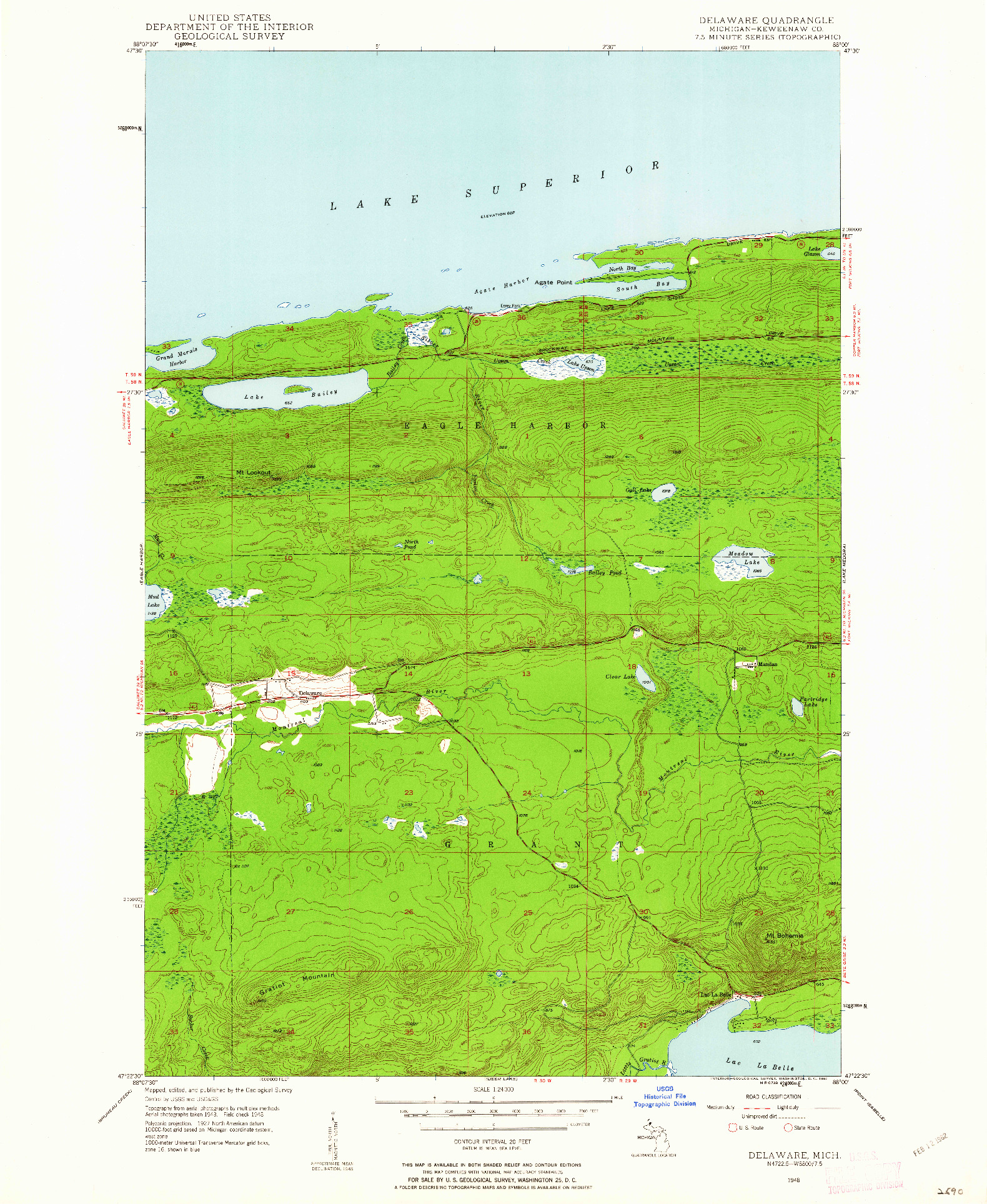USGS 1:24000-SCALE QUADRANGLE FOR DELAWARE, MI 1948