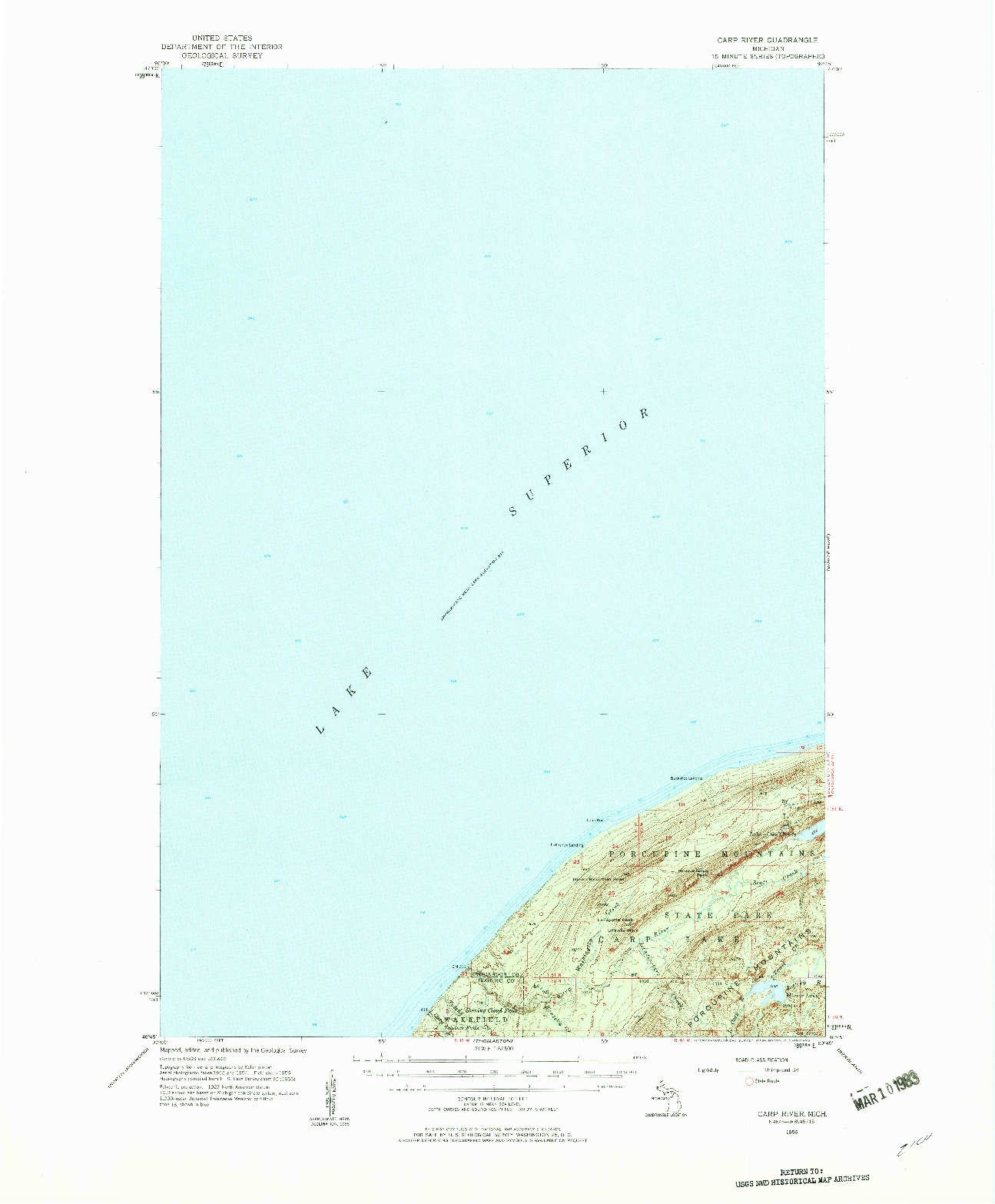 USGS 1:62500-SCALE QUADRANGLE FOR CARP RIVER, MI 1956