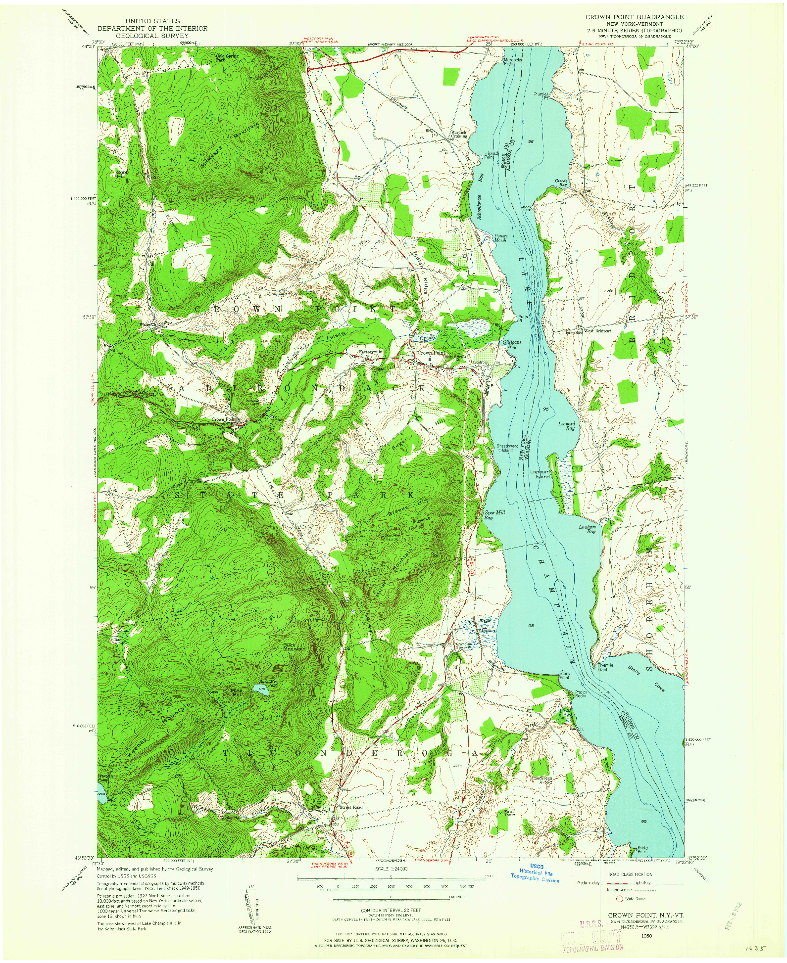 USGS 1:24000-SCALE QUADRANGLE FOR CROWN POINT, NY 1950