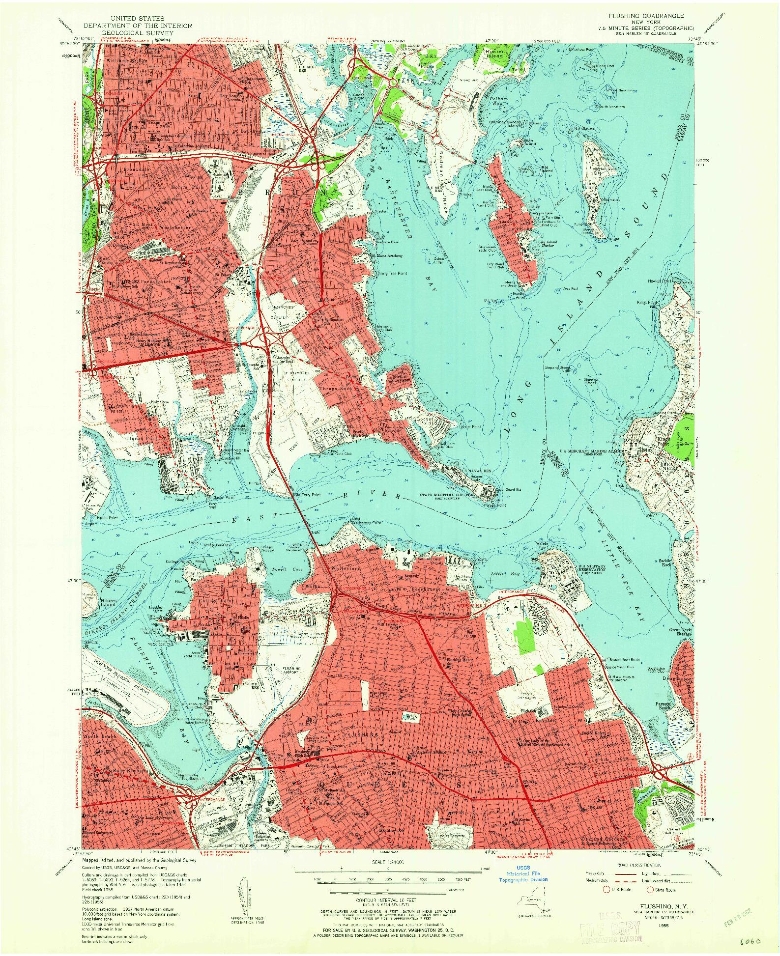 USGS 1:24000-SCALE QUADRANGLE FOR FLUSHING, NY 1955