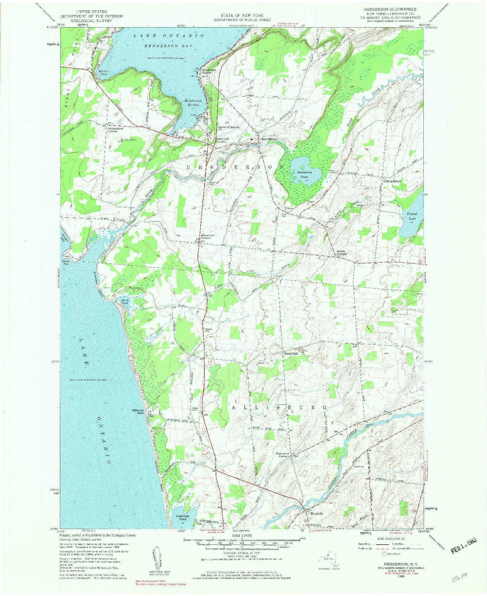 USGS 1:24000-SCALE QUADRANGLE FOR HENDERSON, NY 1959