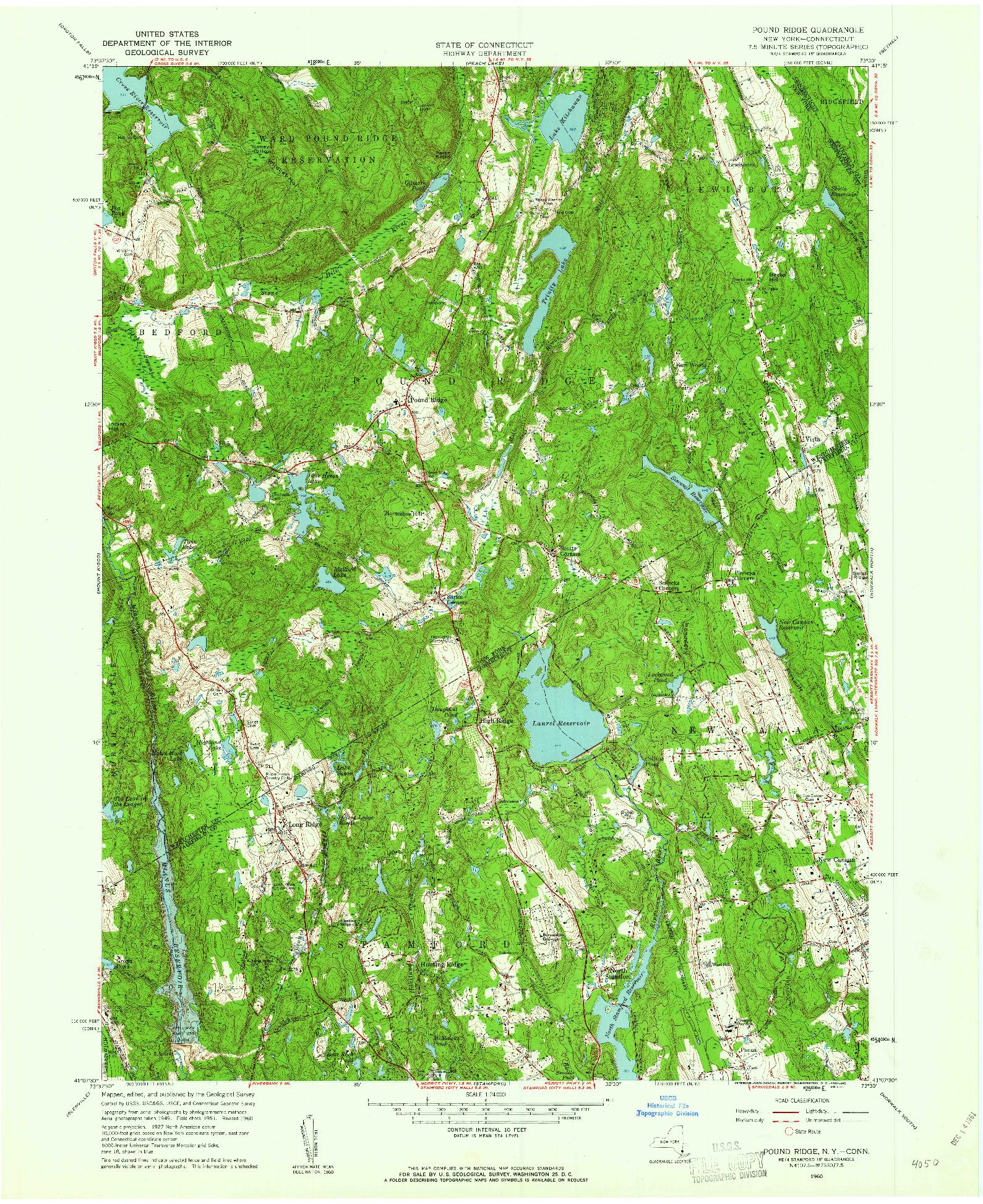 USGS 1:24000-SCALE QUADRANGLE FOR POUND RIDGE, NY 1960