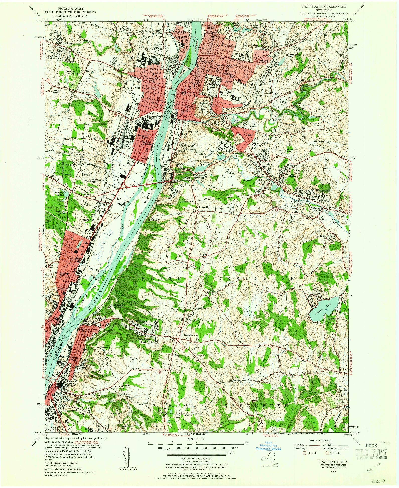USGS 1:24000-SCALE QUADRANGLE FOR TROY SOUTH, NY 1953