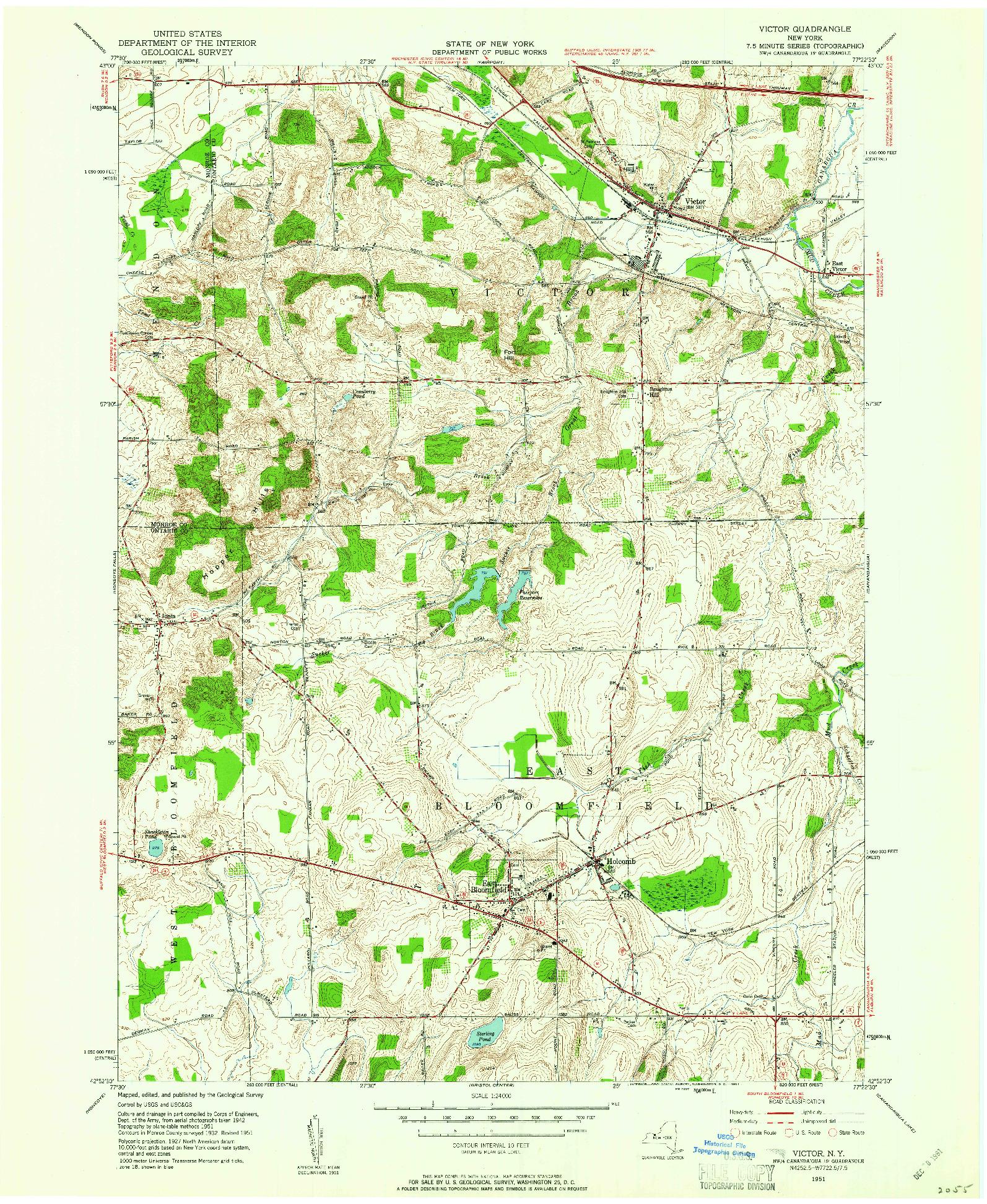 USGS 1:24000-SCALE QUADRANGLE FOR VICTOR, NY 1951