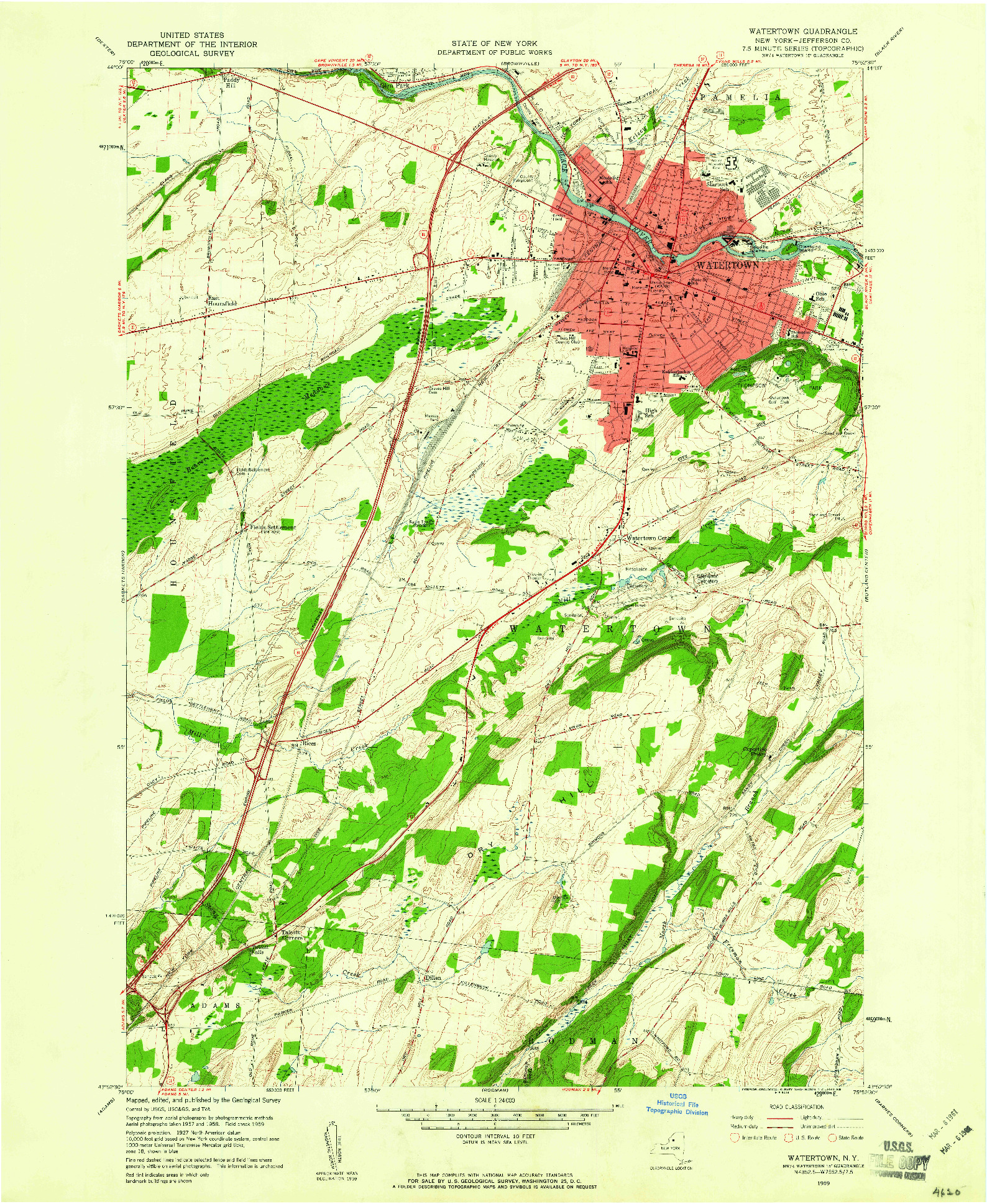 USGS 1:24000-SCALE QUADRANGLE FOR WATERTOWN, NY 1959