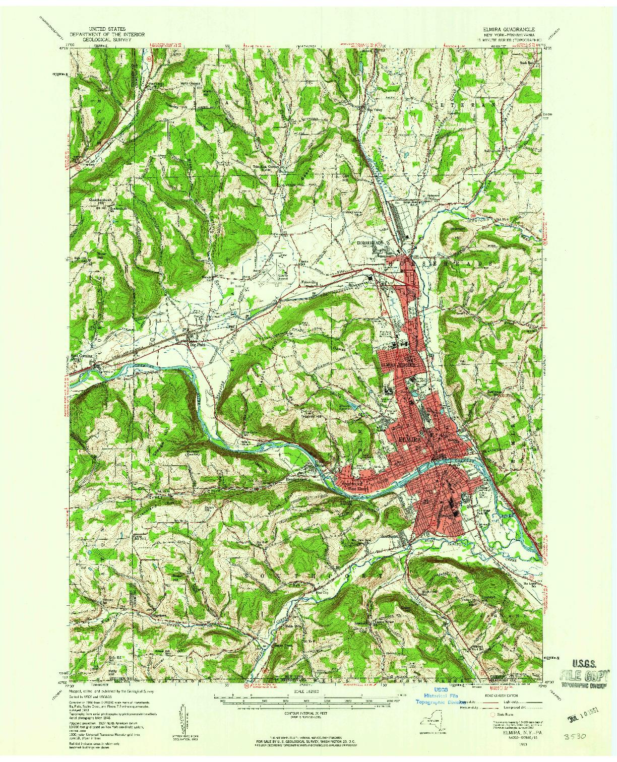 USGS 1:62500-SCALE QUADRANGLE FOR ELMIRA, NY 1953