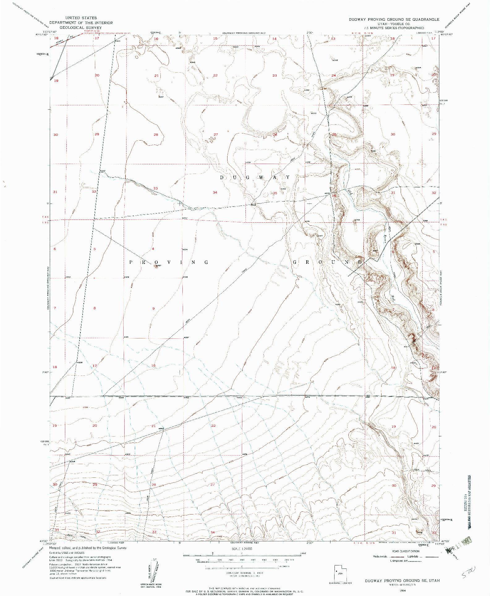 USGS 1:24000-SCALE QUADRANGLE FOR DUGWAY PROVING GROUND SE, UT 1954