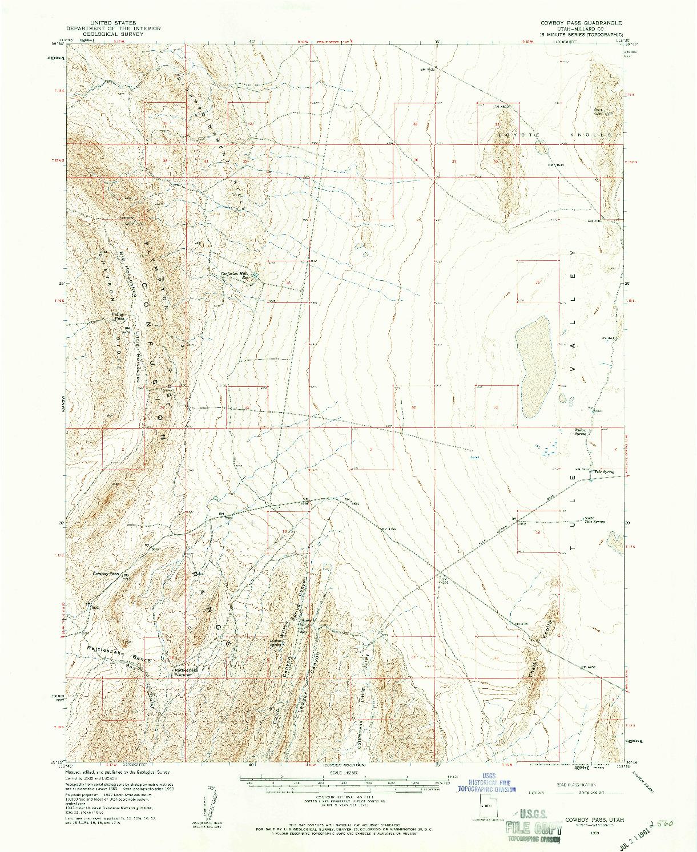 USGS 1:62500-SCALE QUADRANGLE FOR COWBOY PASS, UT 1959