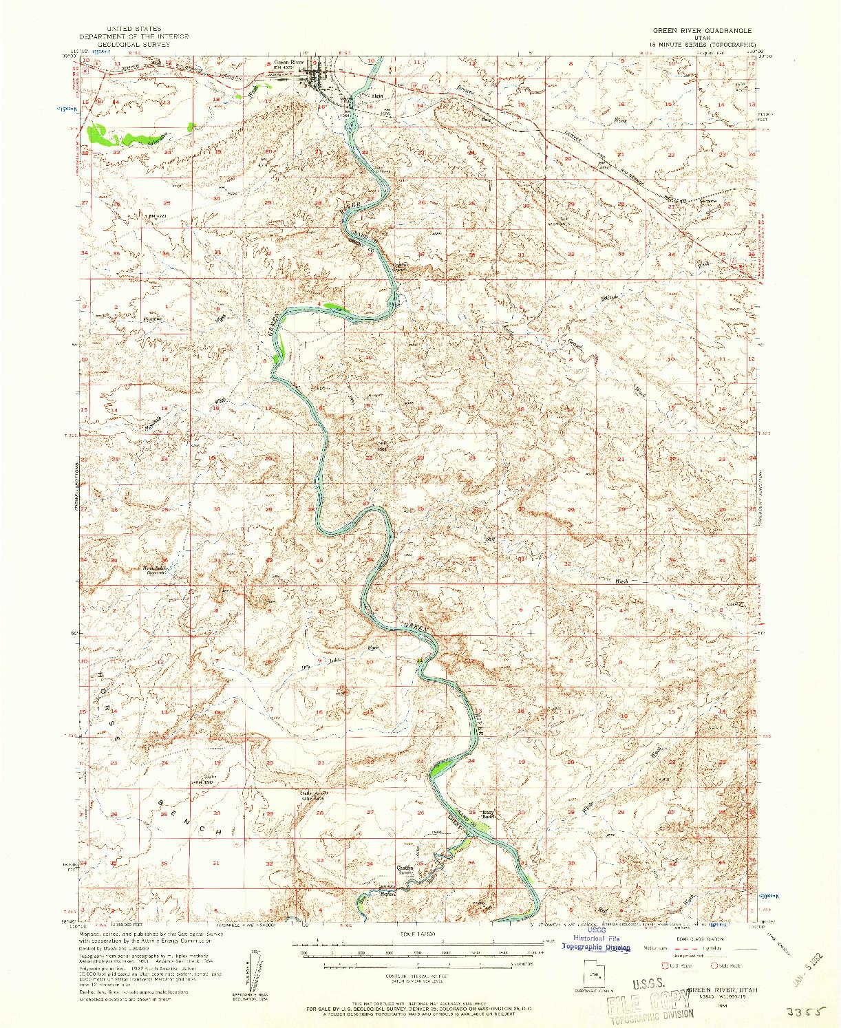 USGS 1:62500-SCALE QUADRANGLE FOR GREEN RIVER, UT 1954