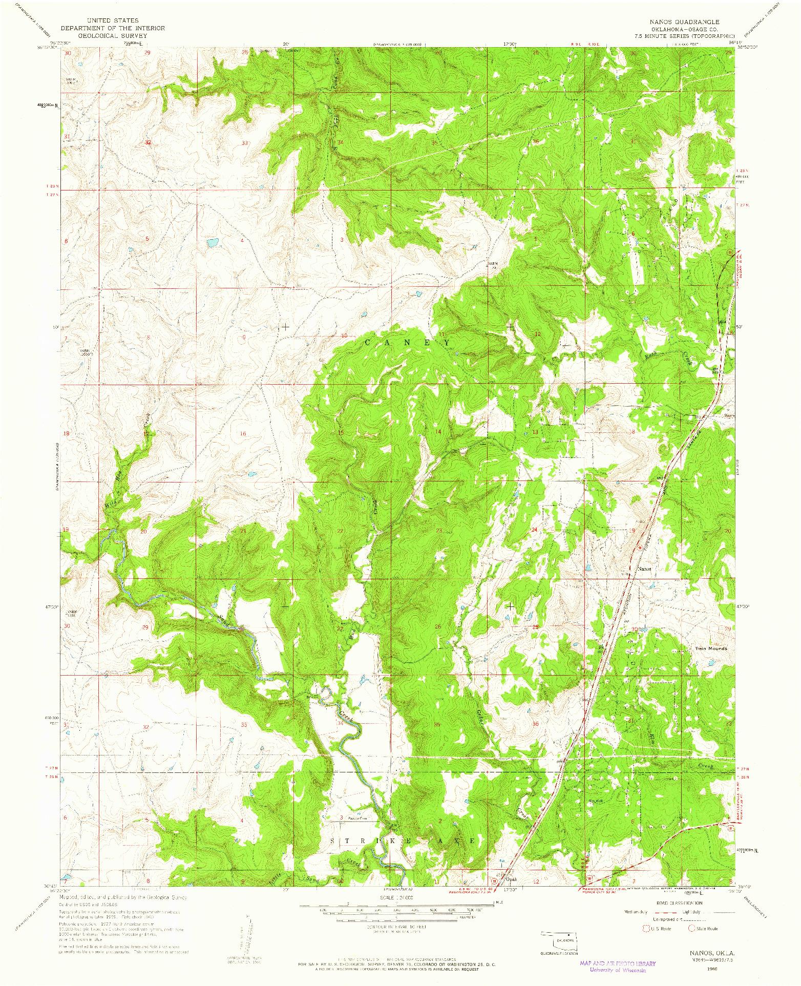 USGS 1:24000-SCALE QUADRANGLE FOR NANOS, OK 1960