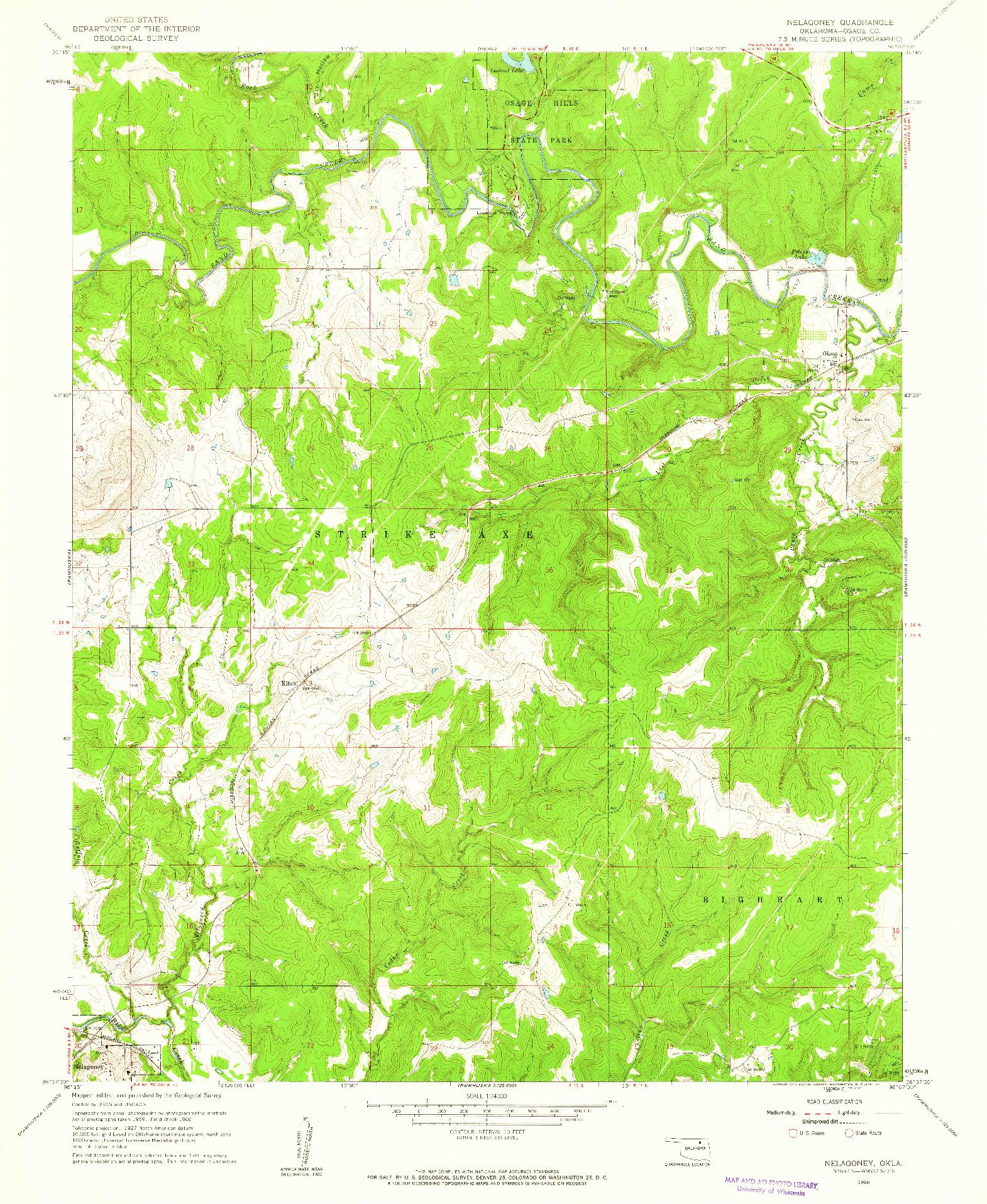 USGS 1:24000-SCALE QUADRANGLE FOR NELAGONEY, OK 1960