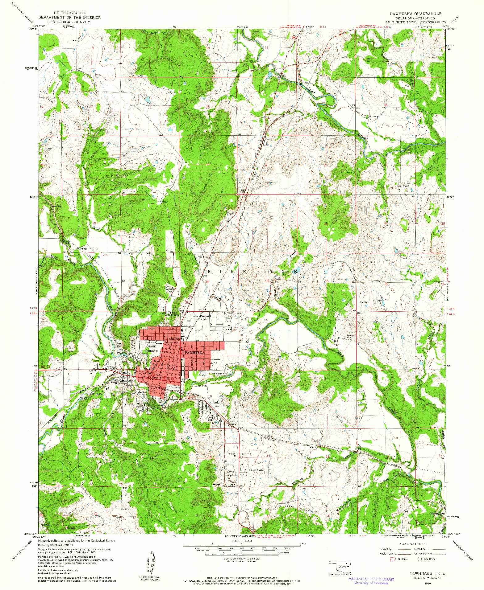 USGS 1:24000-SCALE QUADRANGLE FOR PAWHUSKA, OK 1960