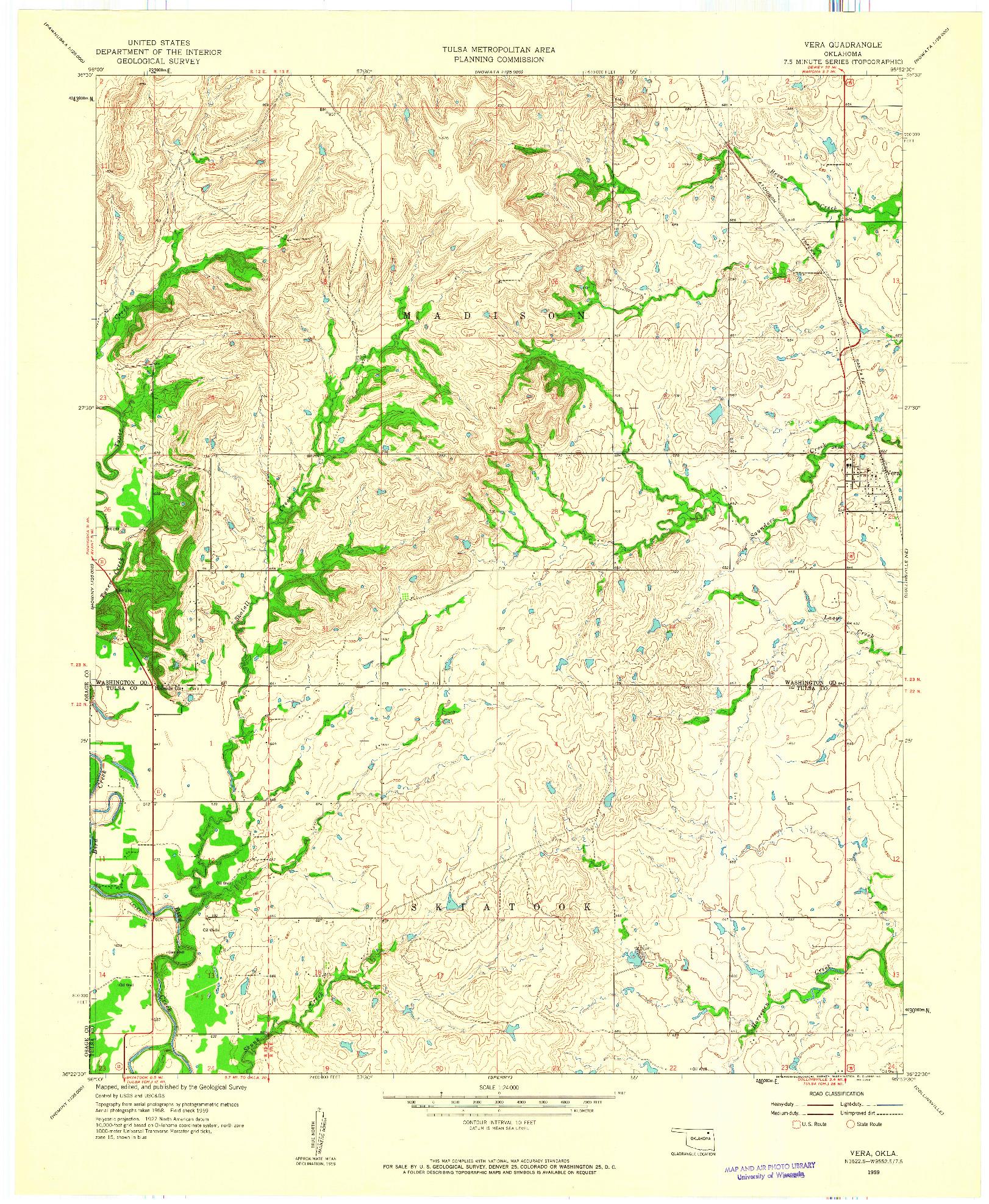 USGS 1:24000-SCALE QUADRANGLE FOR VERA, OK 1959