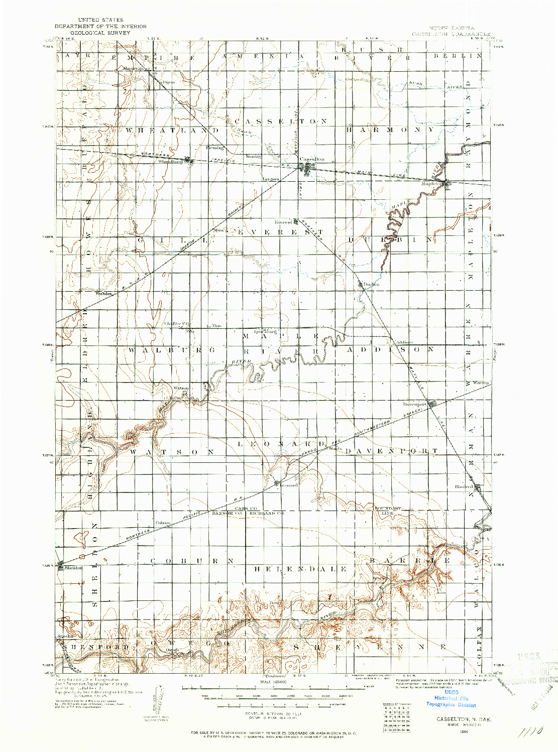 USGS 1:125000-SCALE QUADRANGLE FOR CASSELTON, ND 1895
