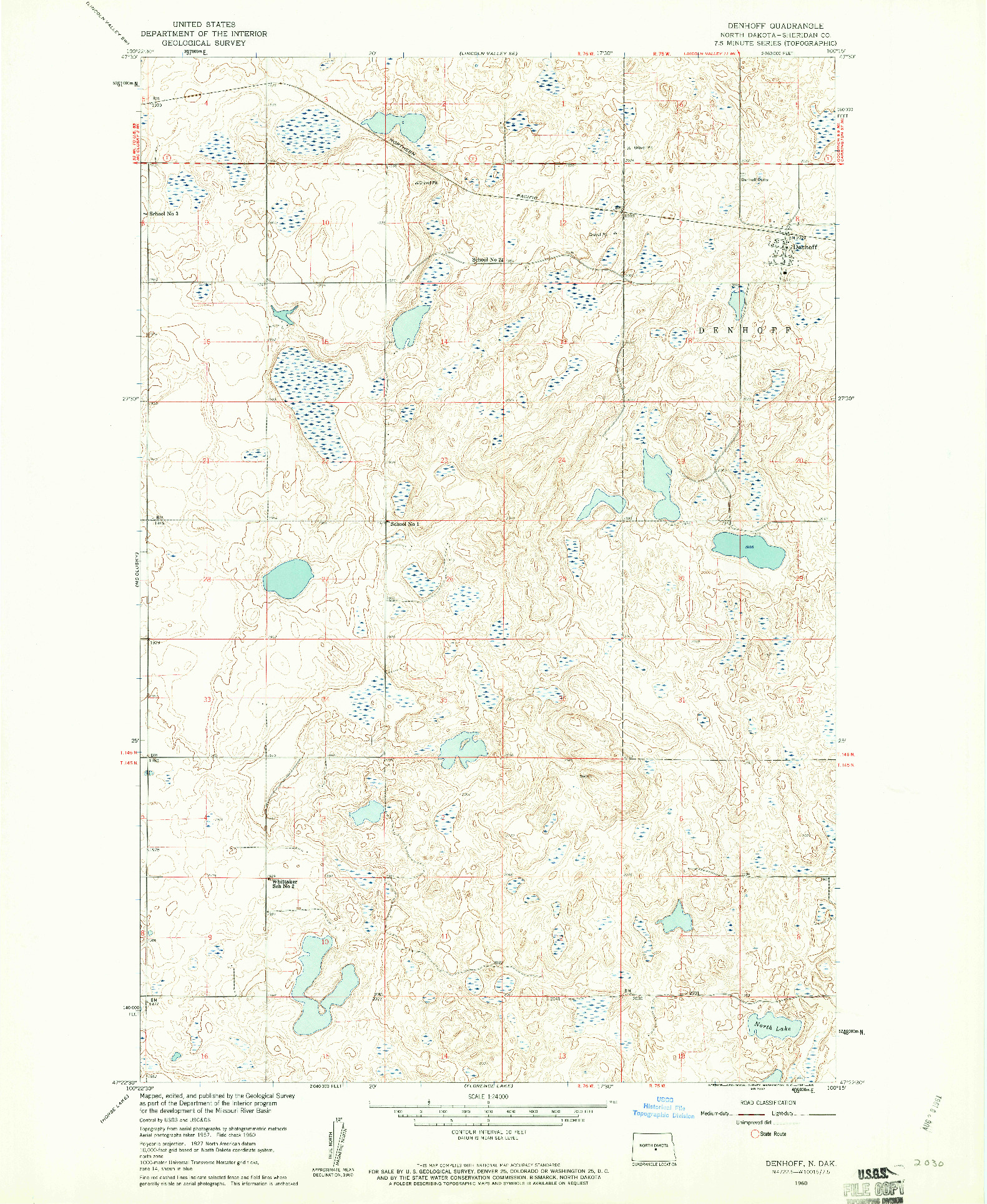 USGS 1:24000-SCALE QUADRANGLE FOR DENHOFF, ND 1960