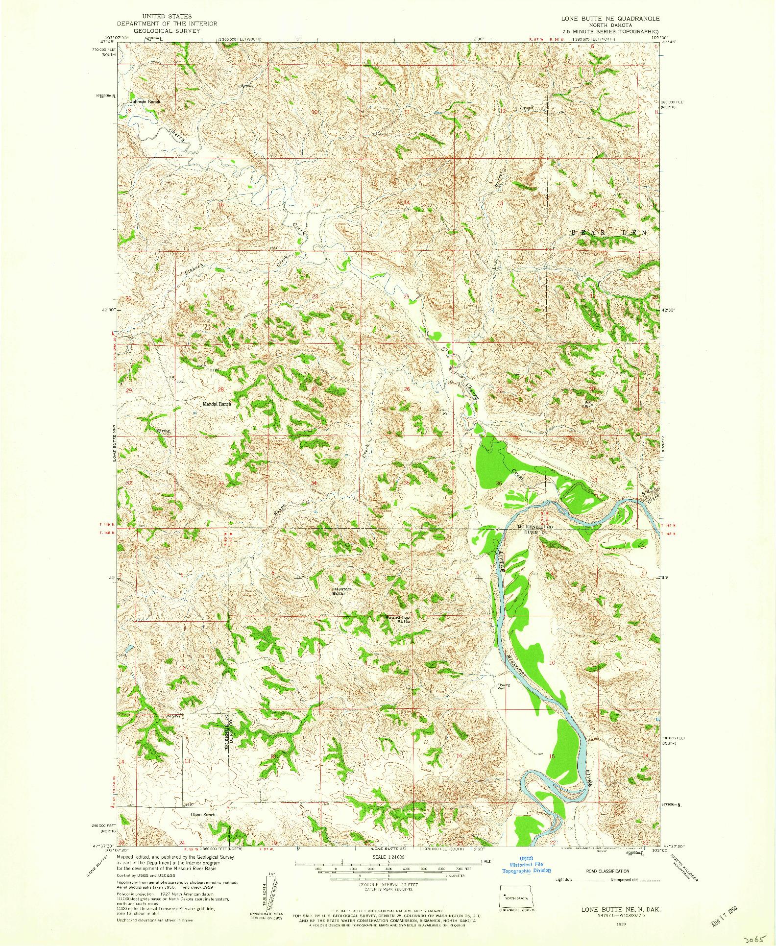 USGS 1:24000-SCALE QUADRANGLE FOR LONE BUTTE NE, ND 1959