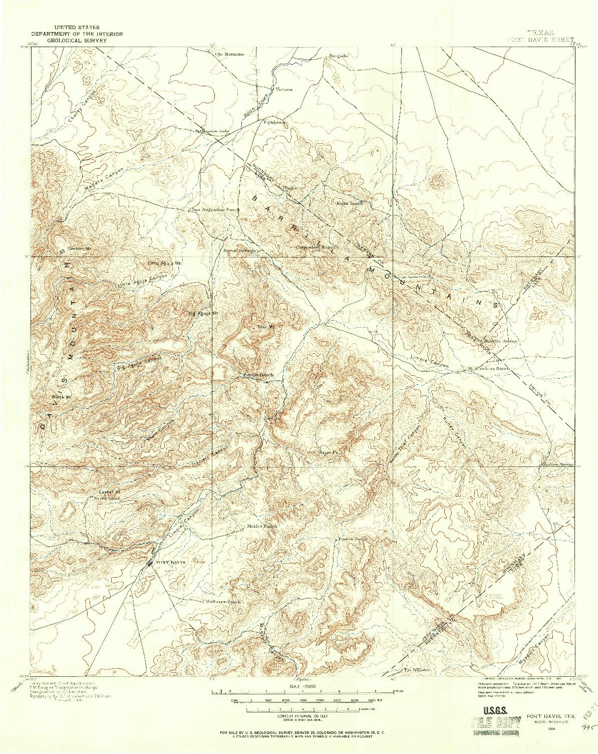 USGS 1:125000-SCALE QUADRANGLE FOR FORT DAVIS, TX 1894