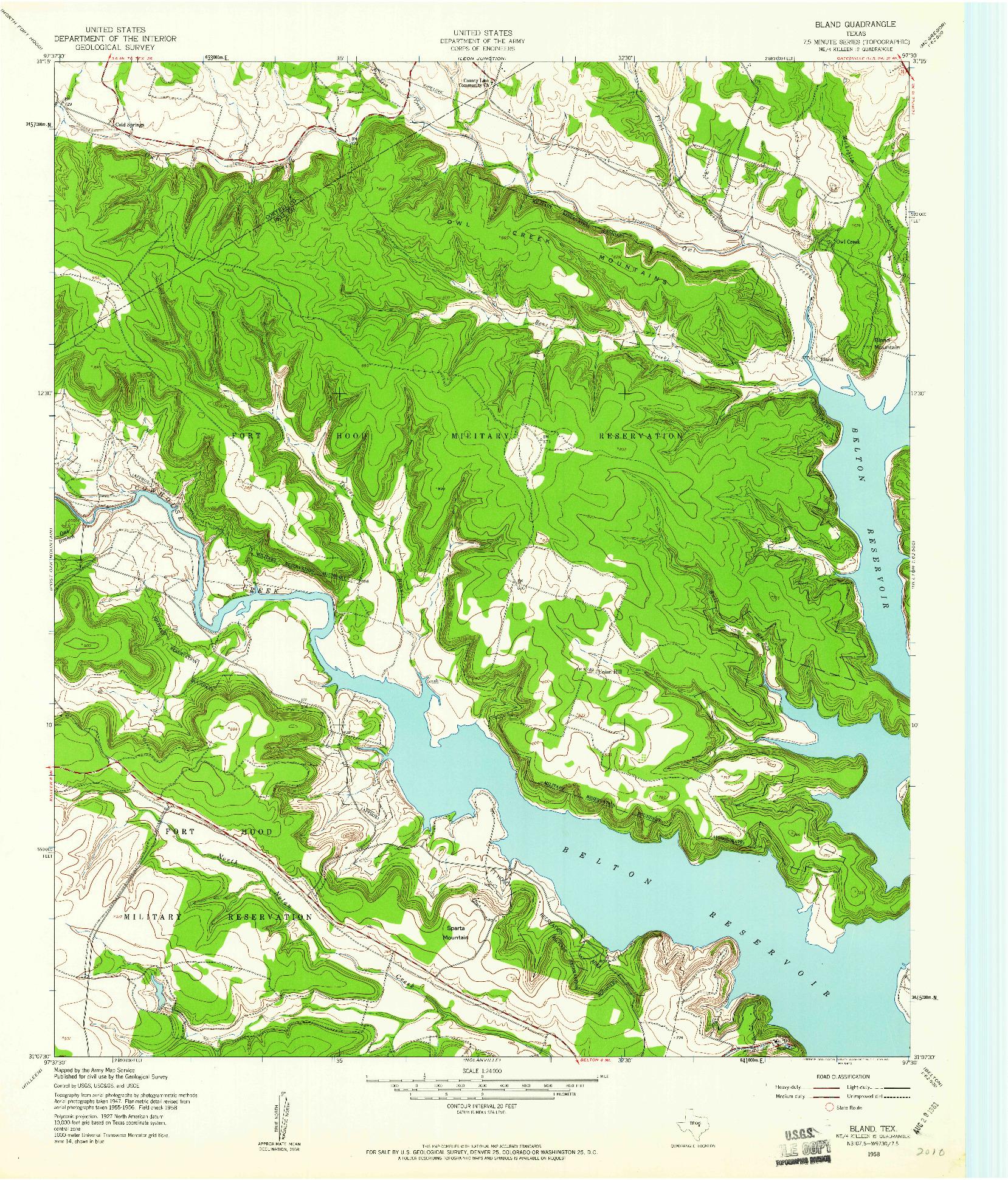 USGS 1:24000-SCALE QUADRANGLE FOR BLAND, TX 1958