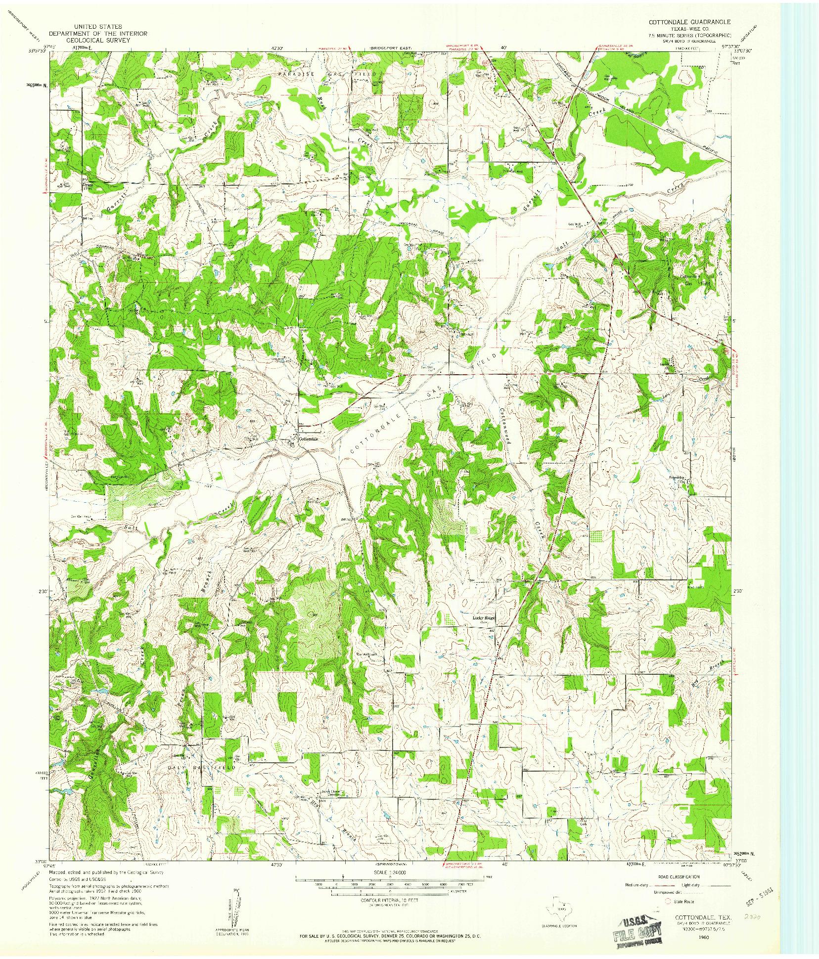 USGS 1:24000-SCALE QUADRANGLE FOR COTTONDALE, TX 1960