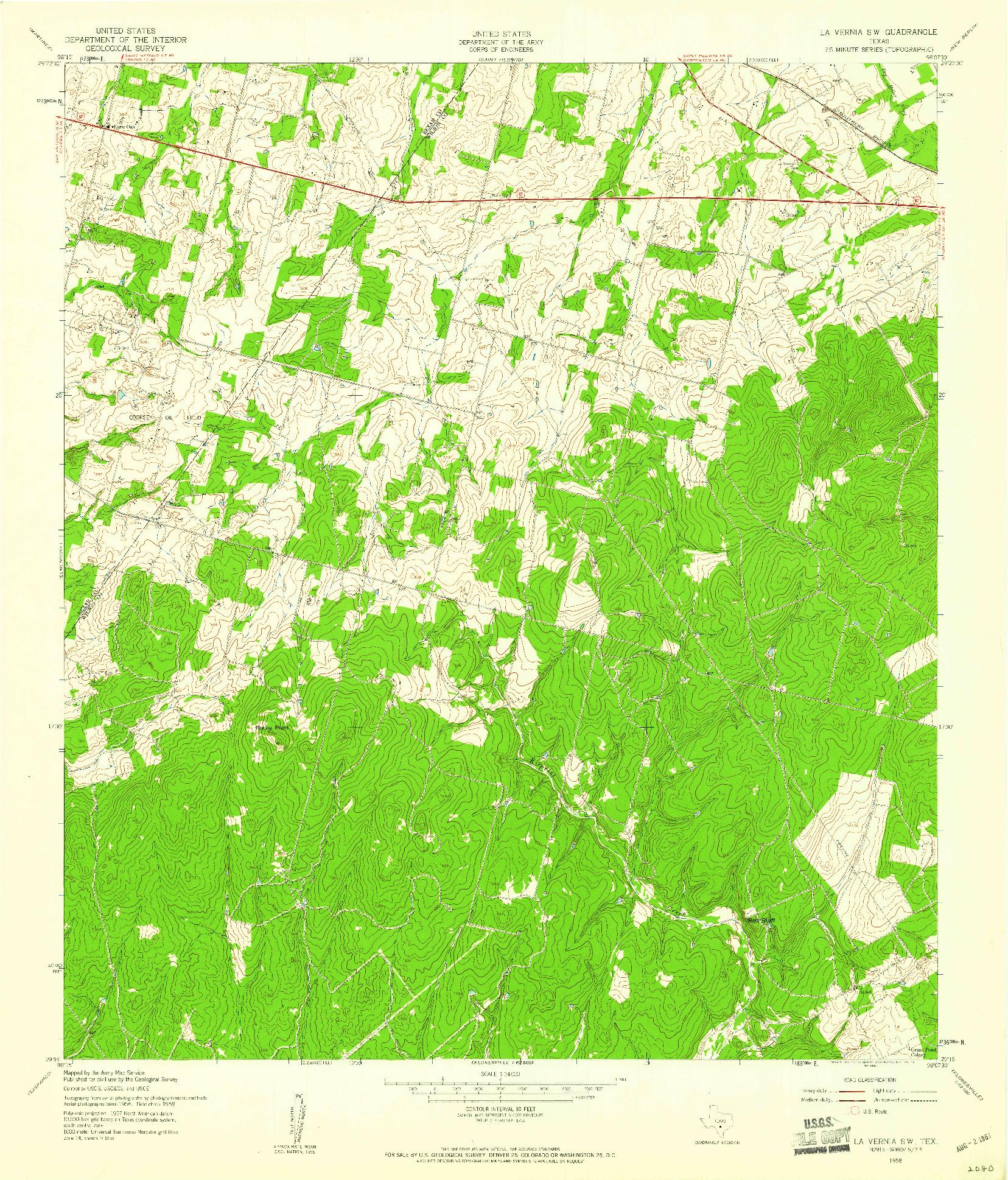 USGS 1:24000-SCALE QUADRANGLE FOR LA VERNIA SW, TX 1958