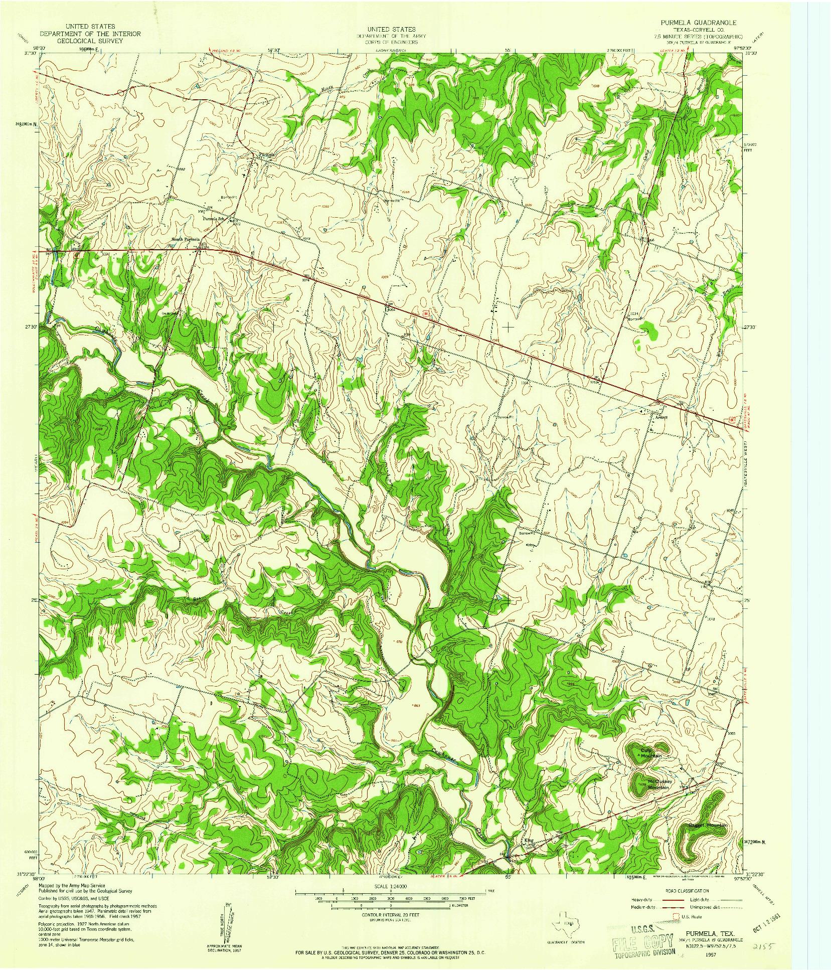 USGS 1:24000-SCALE QUADRANGLE FOR PURMELA, TX 1957