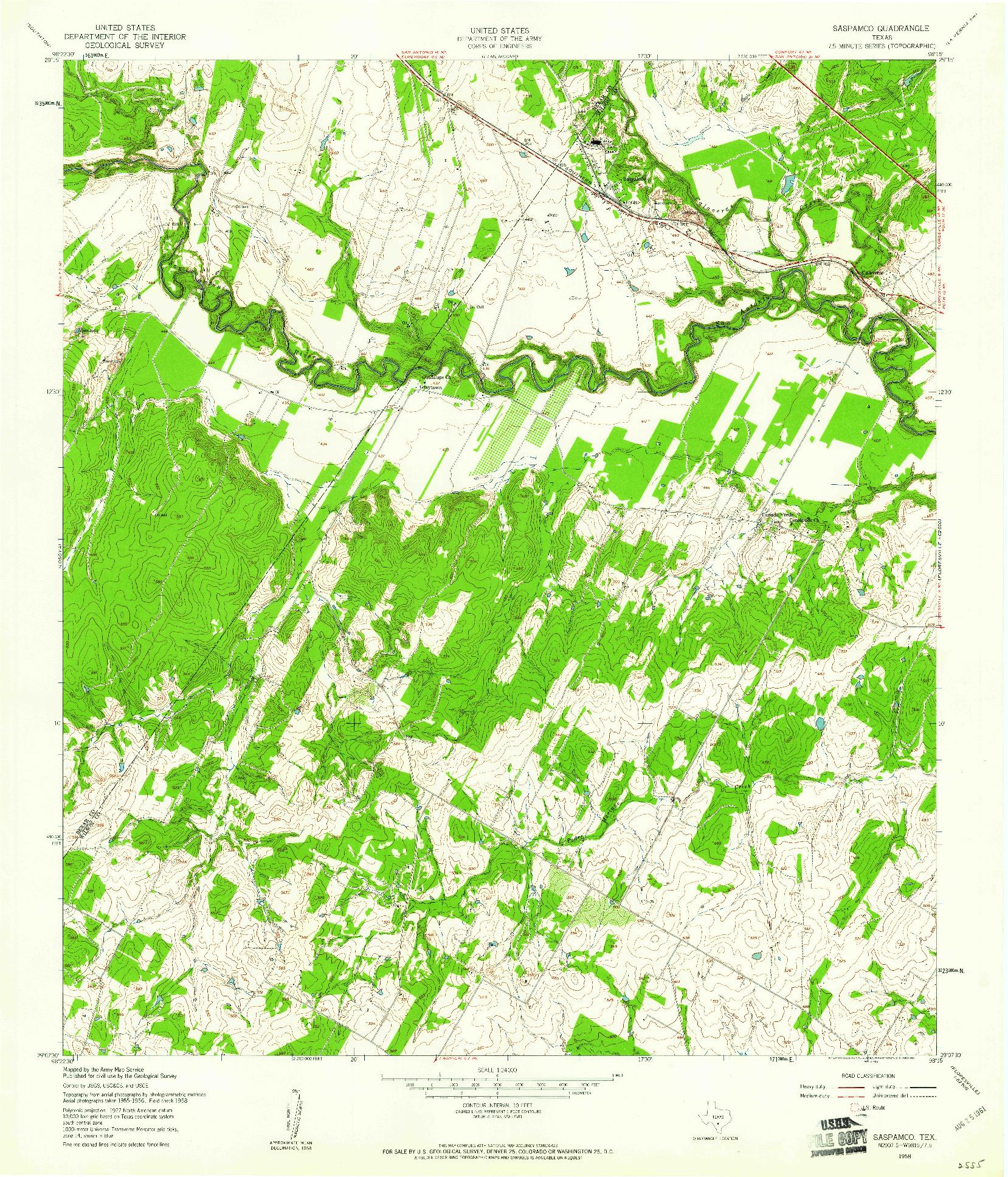 USGS 1:24000-SCALE QUADRANGLE FOR SASPAMCO, TX 1958
